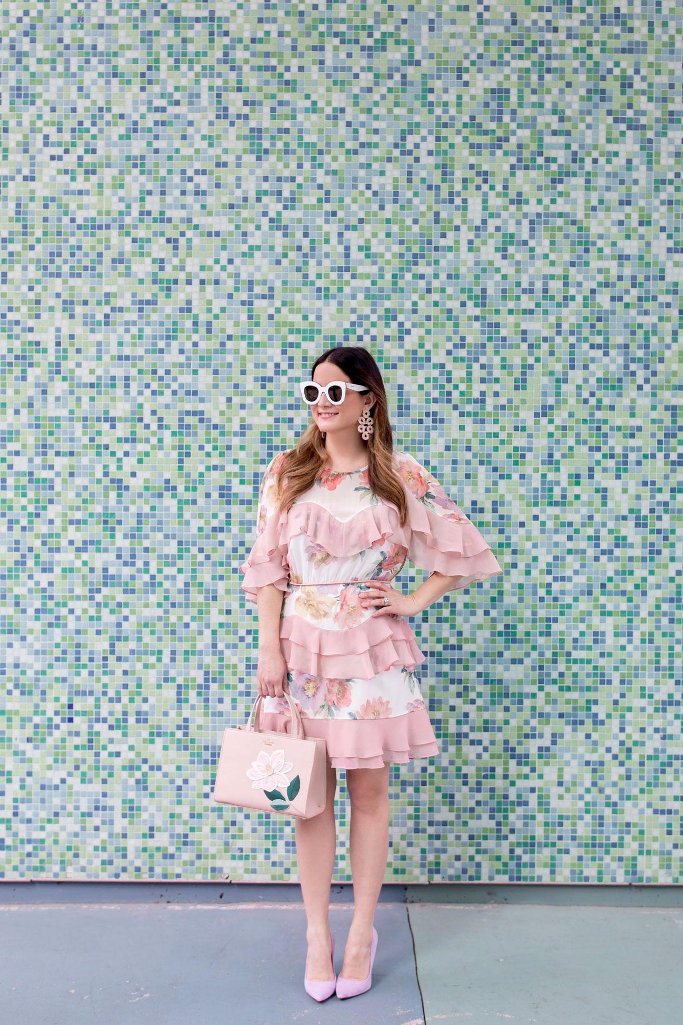 Jennifer Lake Pink Floral Dress