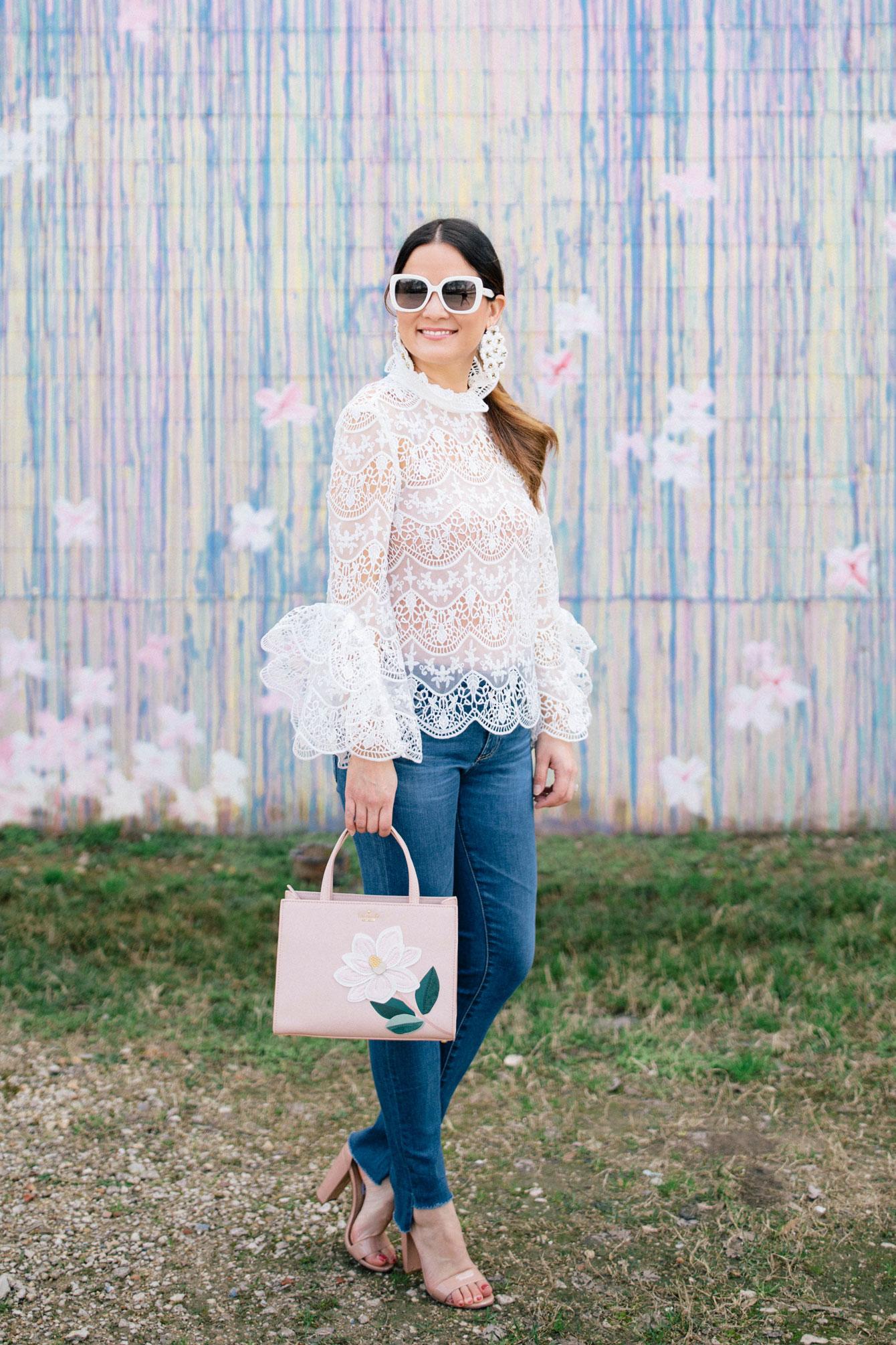 Jennifer Lake White Lace Ruffle Top