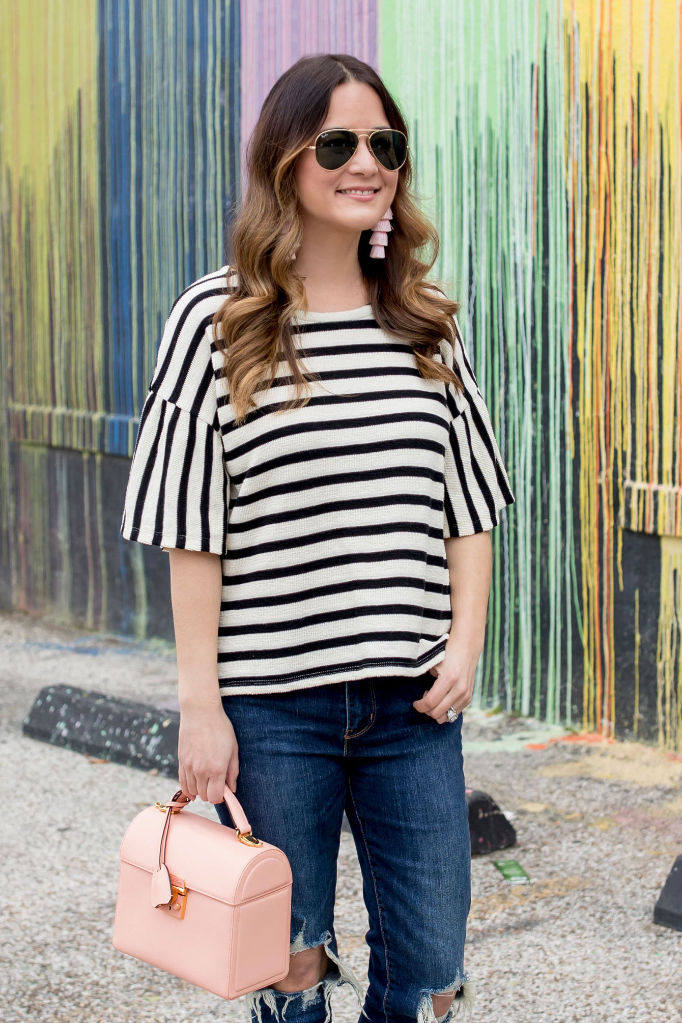 Madewell Black White Stripe Top