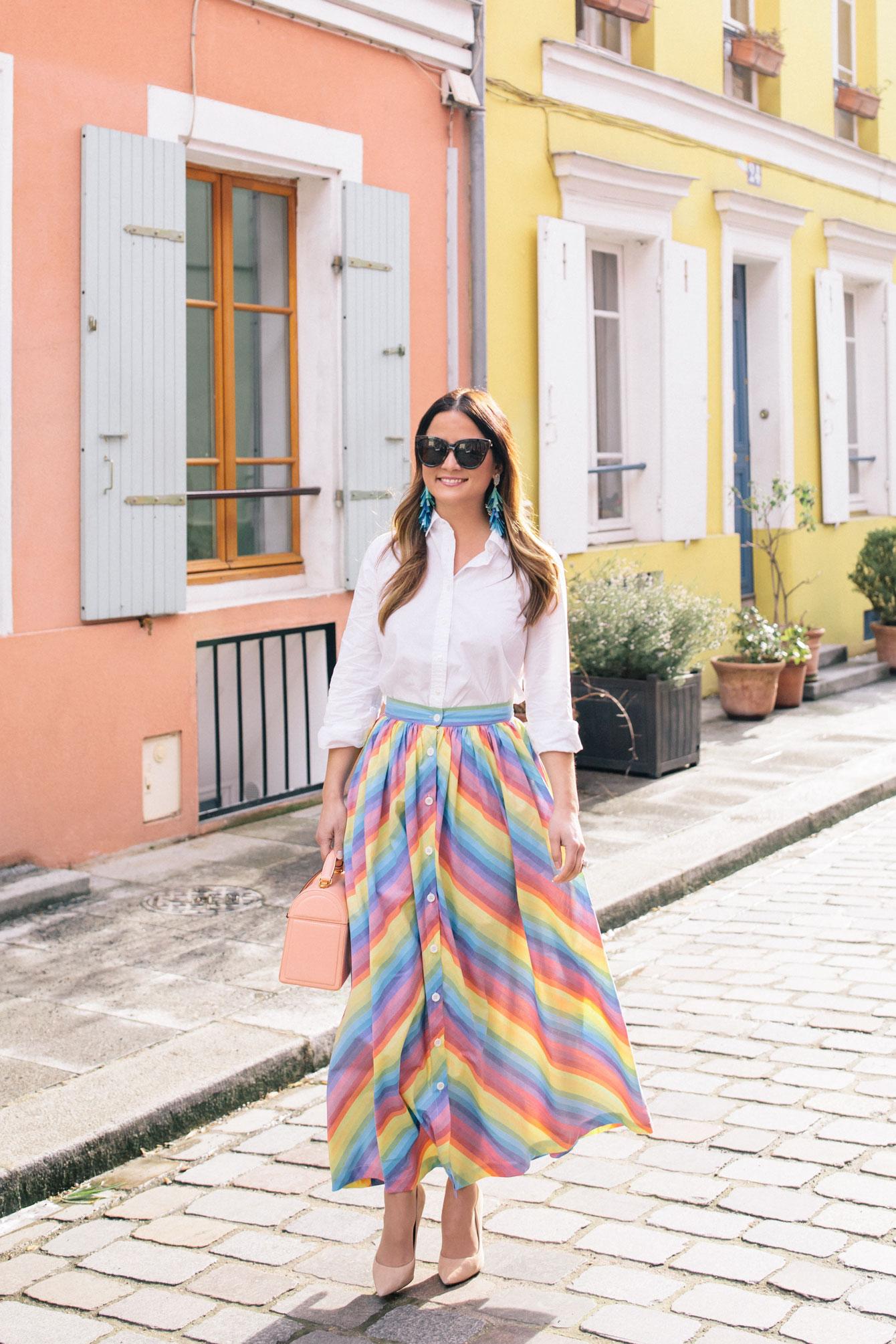 MDS Stripes Rainbow Stripe Skirt