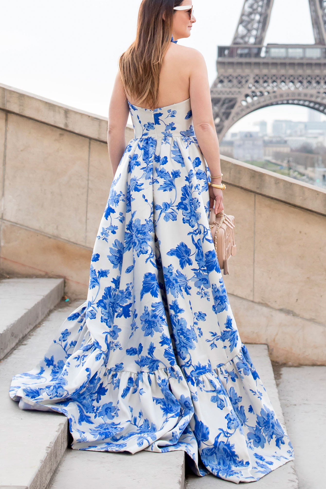 Mestiza Blue Floral Strapless Gown