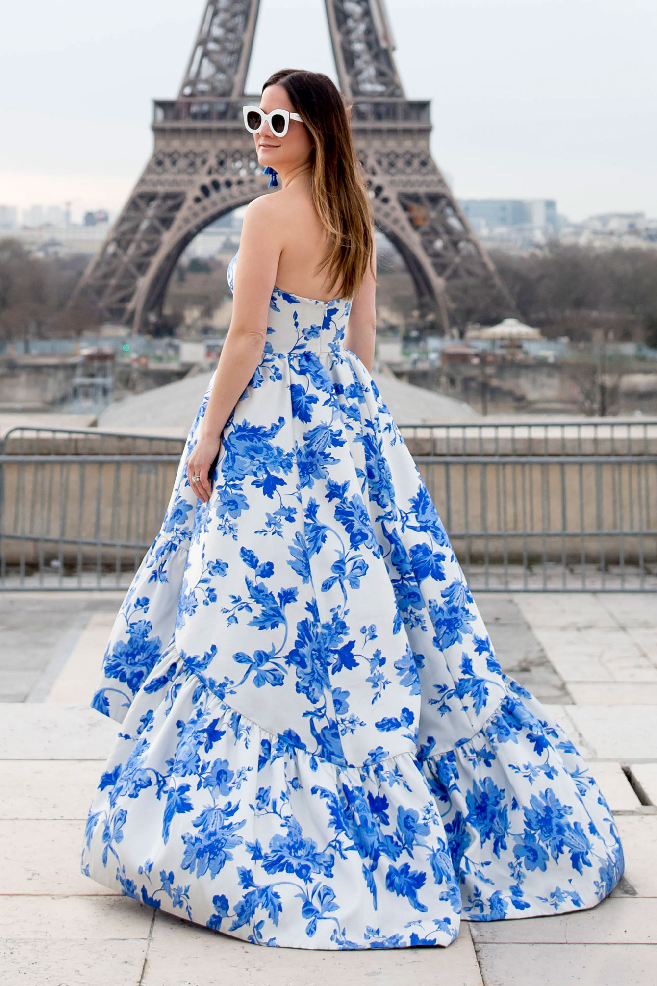Mestiza Blue White Floral Gown