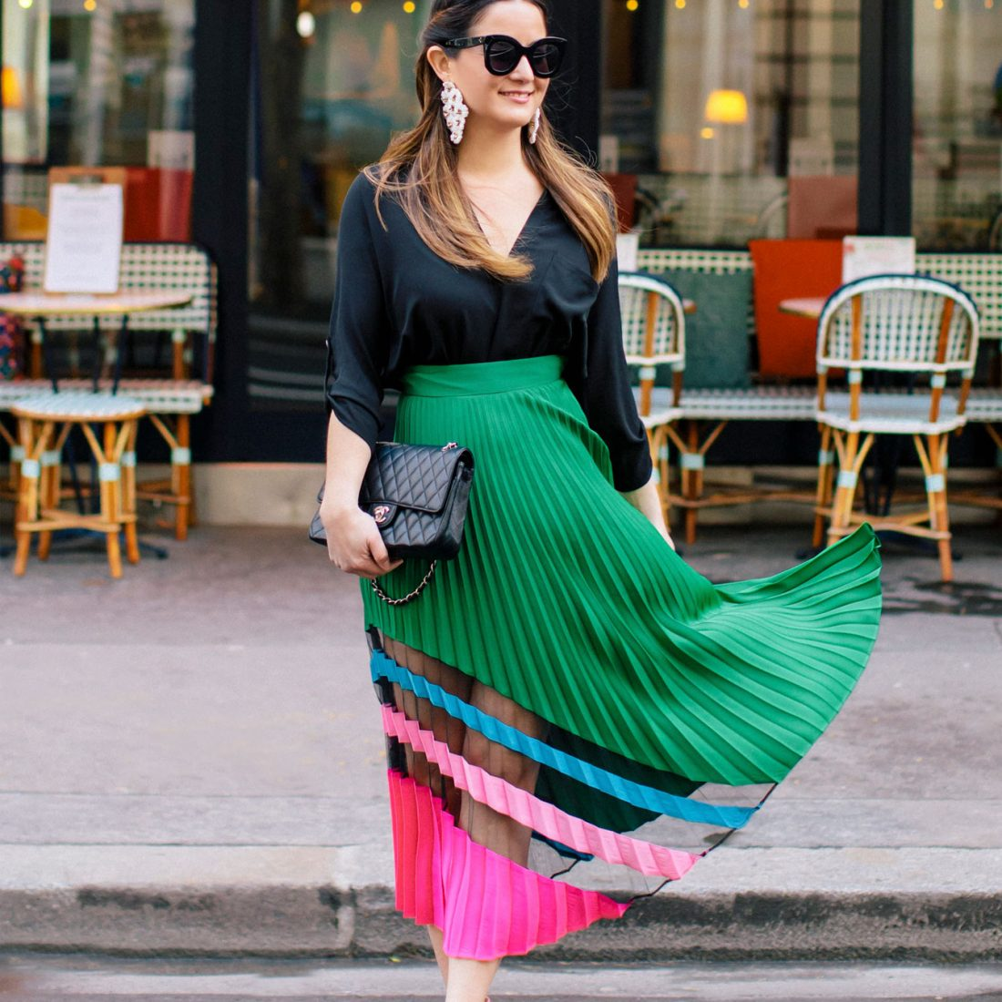 Milly Green Pink Pleated Maxi Skirt
