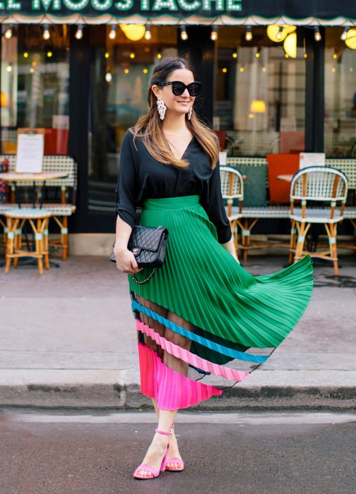 Milly Emerald Pleated Maxi Skirt in Paris