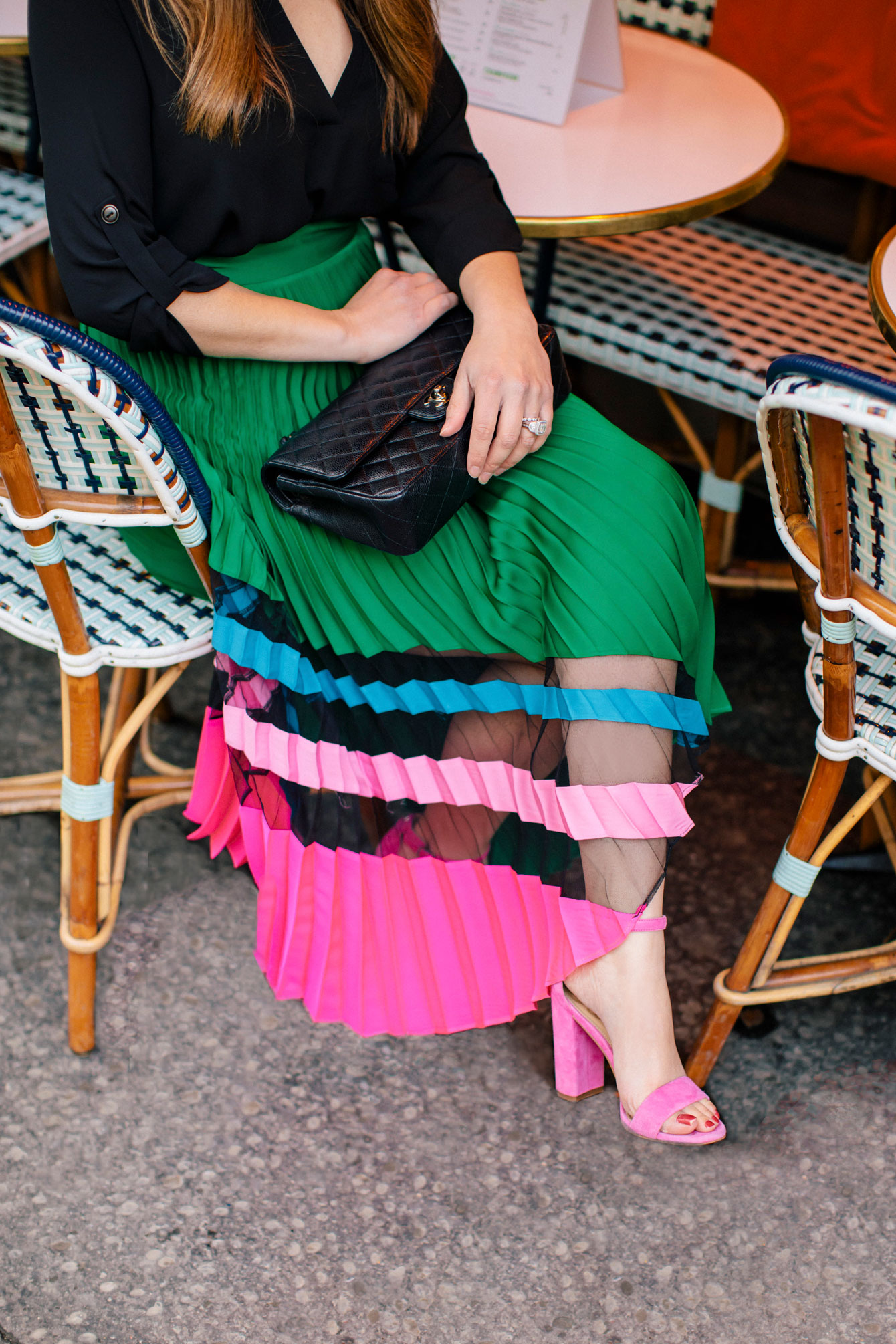 Milly Green Pink Sheer Pleated Skirt