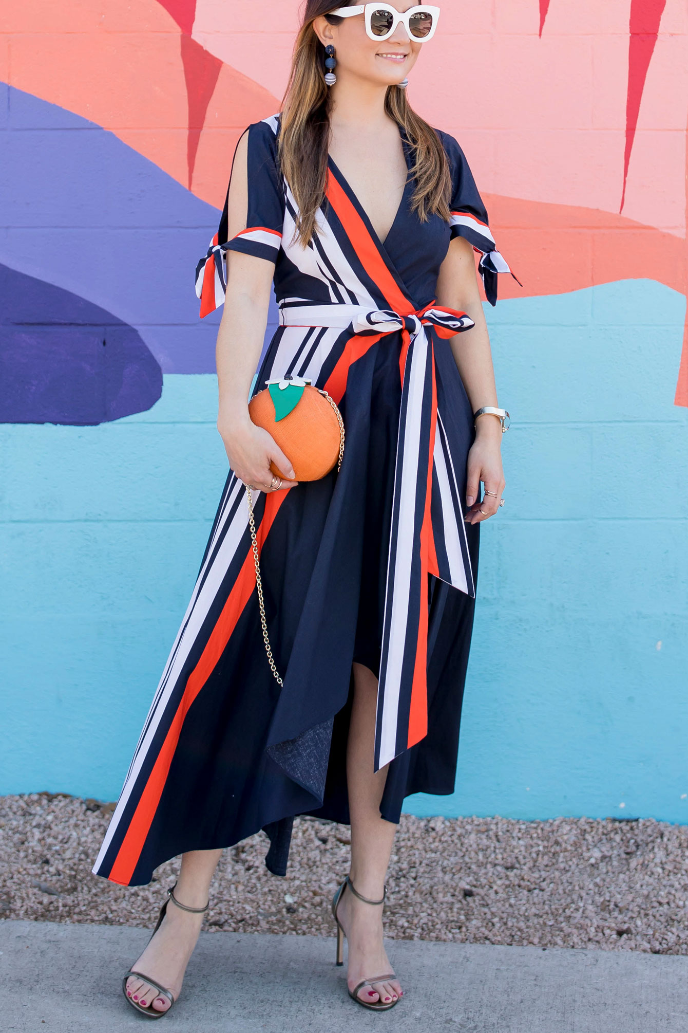 Milly Navy Orange Wrap Dress