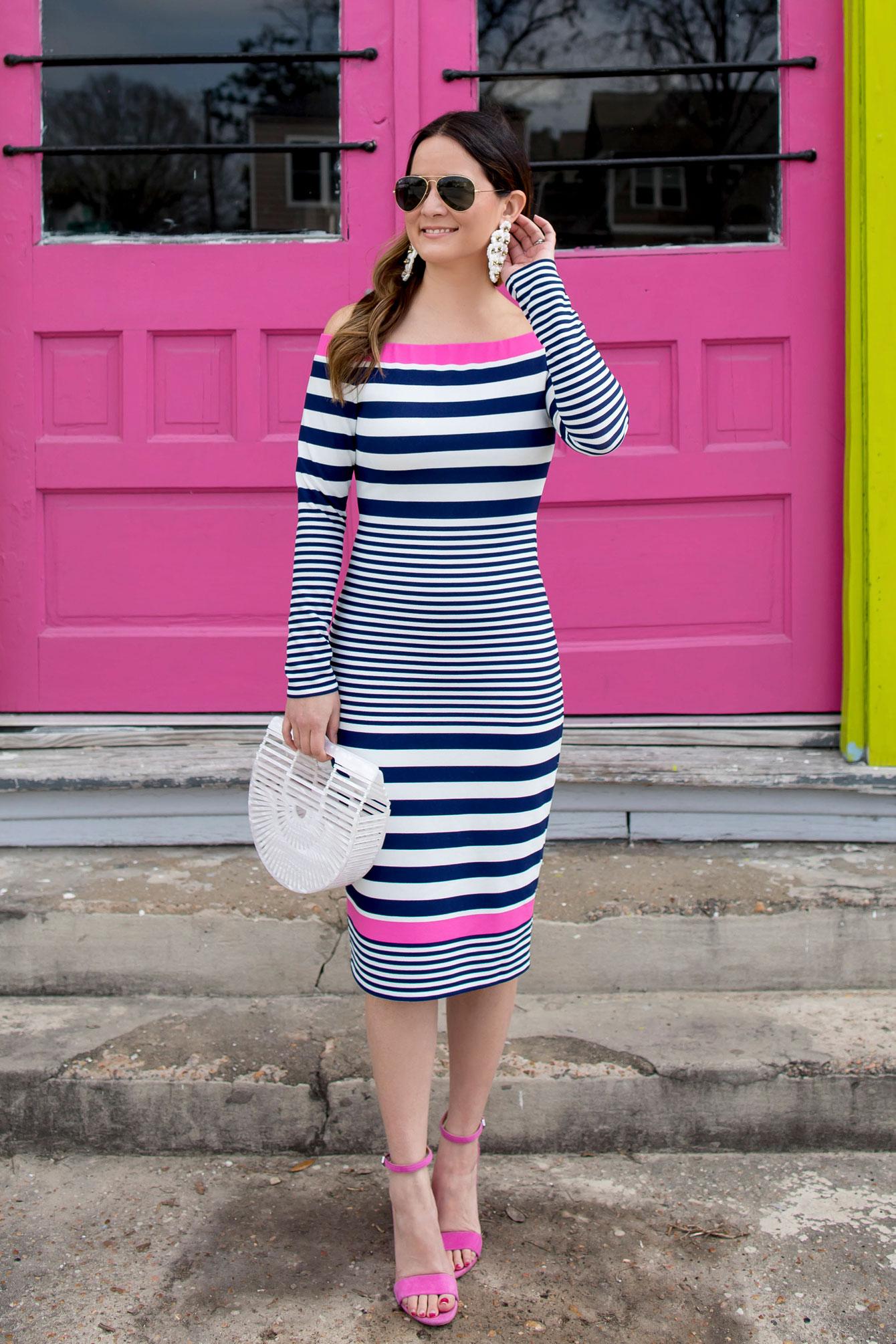 Navy Pink Striped Off Shoulder Dress