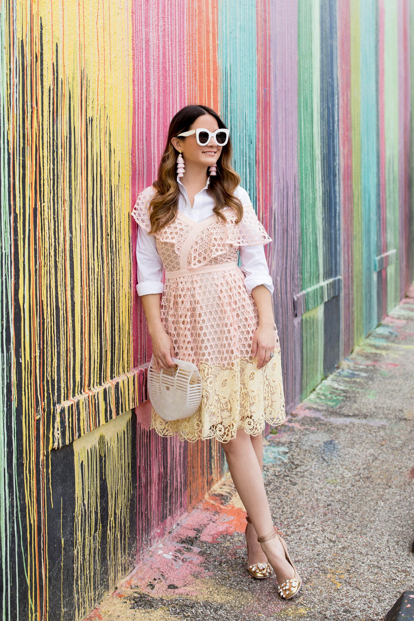 Pink and Yellow Ruffle Lace Dress