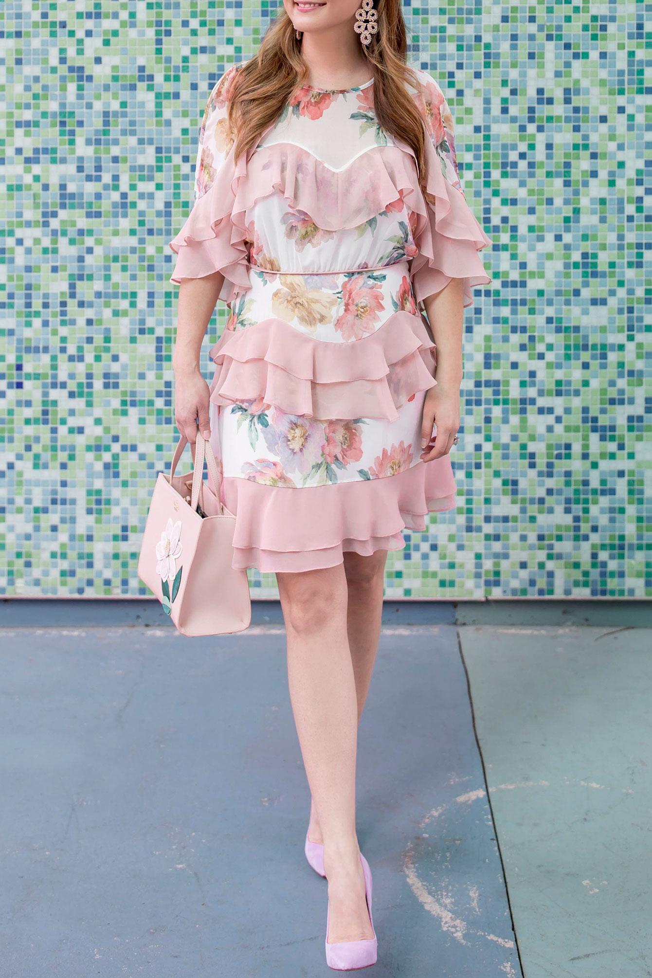 Pink Floral Ruffle Mini Dress