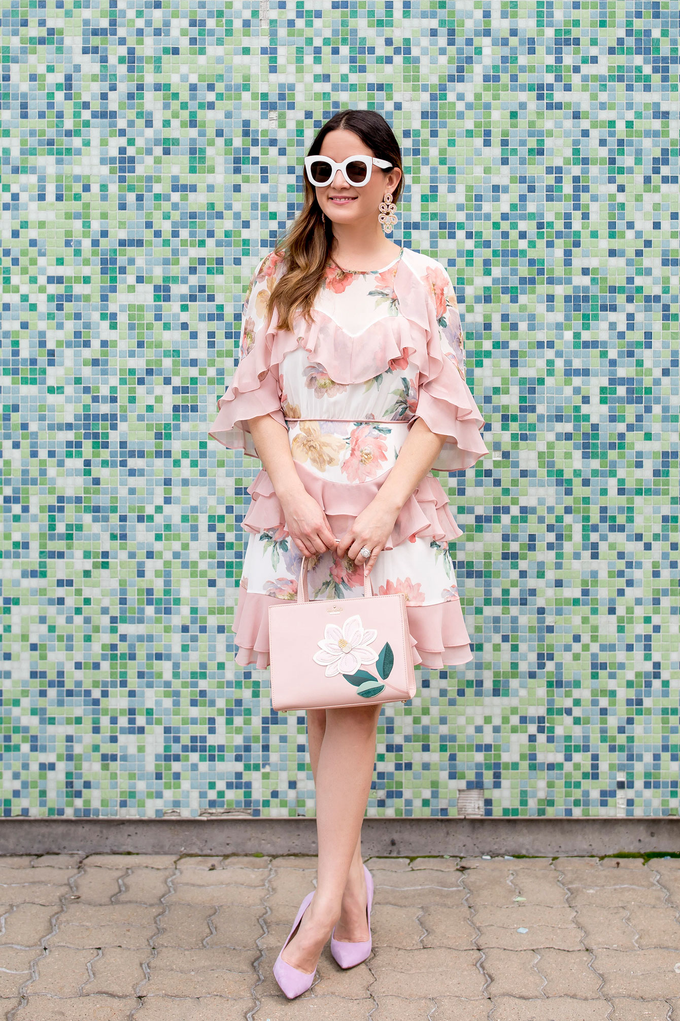Pink Floral Tiered Ruffle Dress