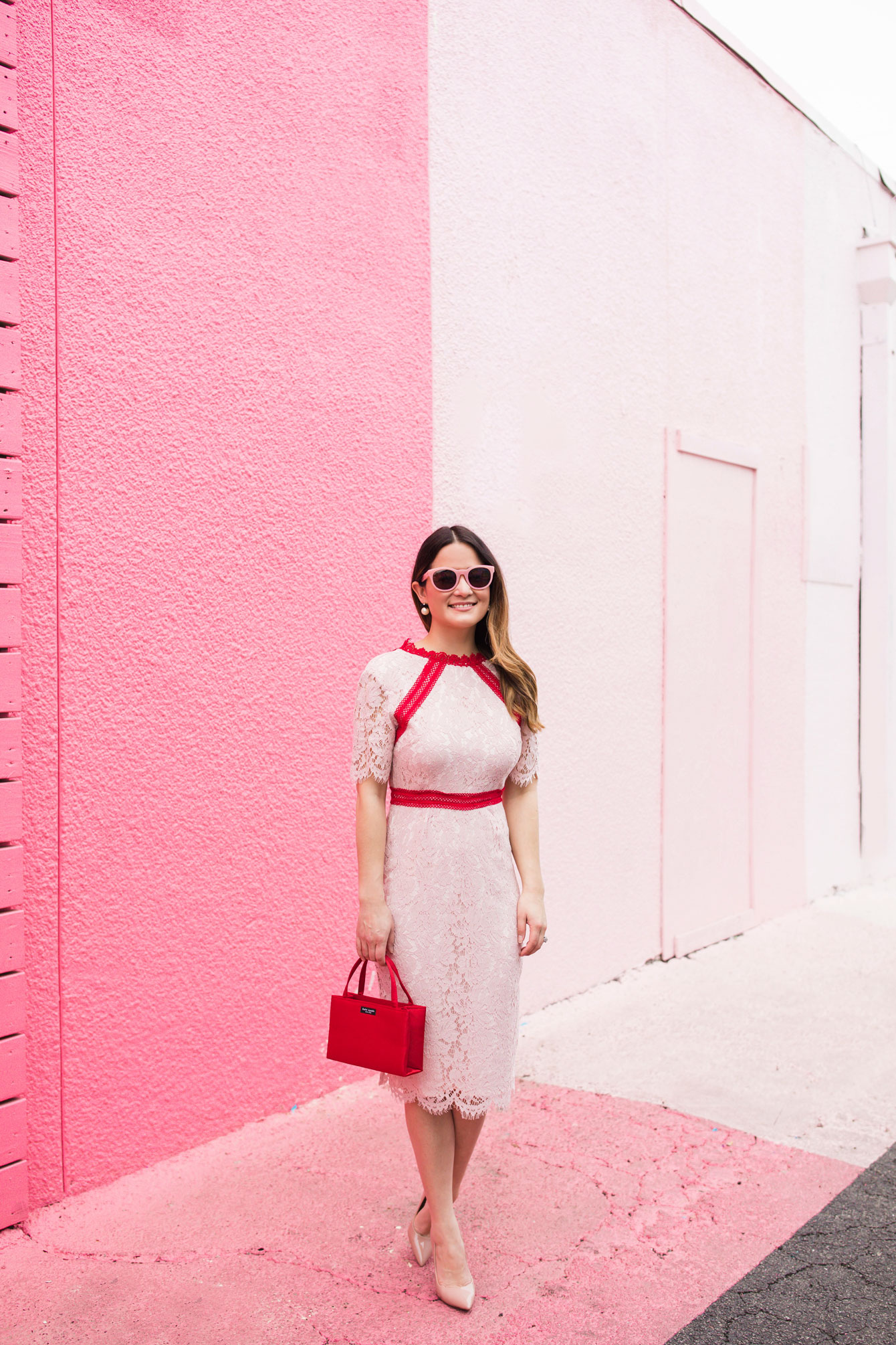 Red and Pink Lace Shift Dress