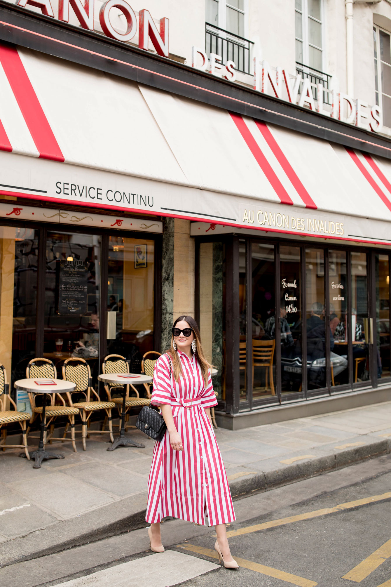 Red Stripe Shirt Dress Paris