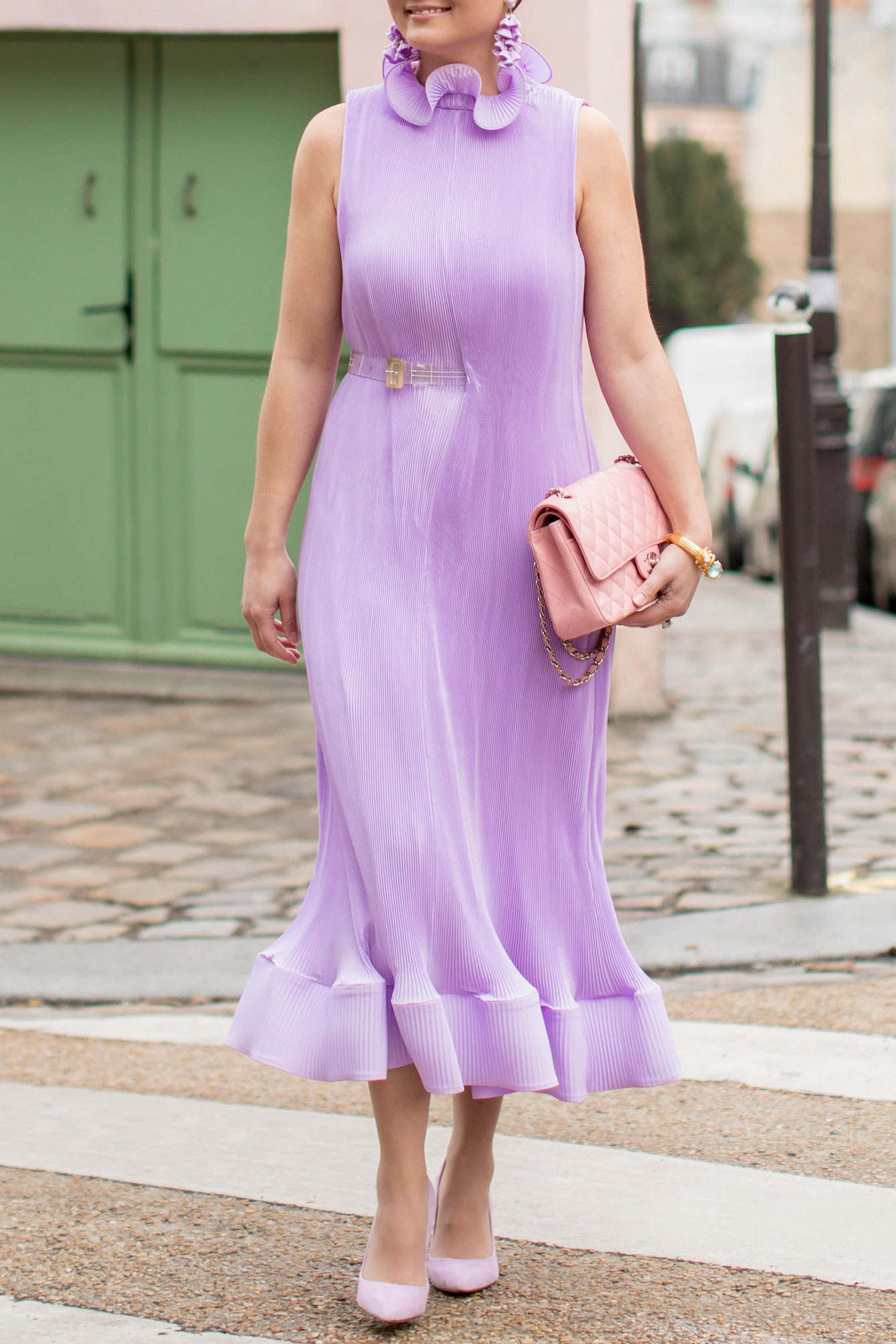 Tibi Lavender Pleated Sleeveless Dress