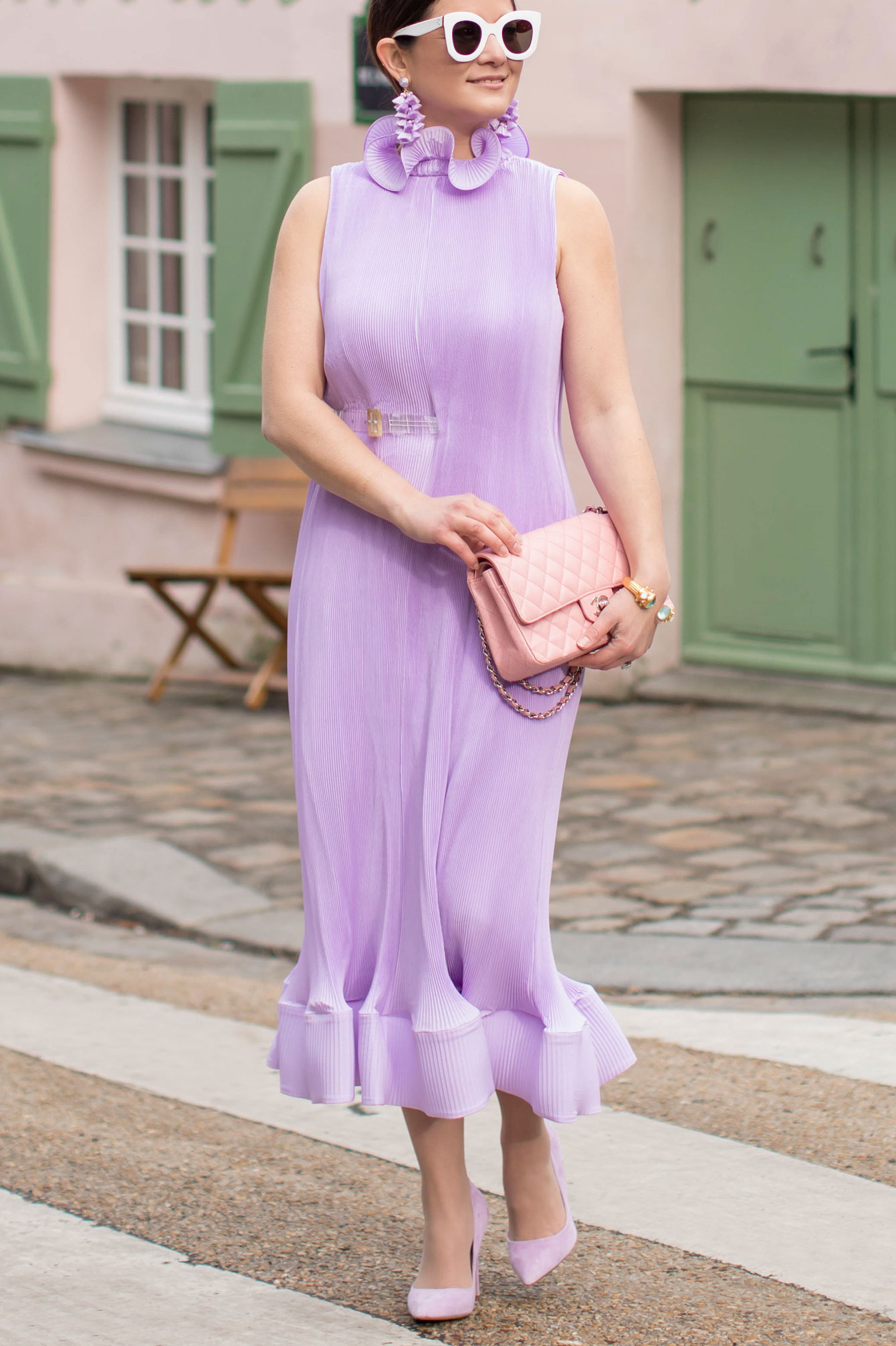 Tibi Purple Pleated Dress