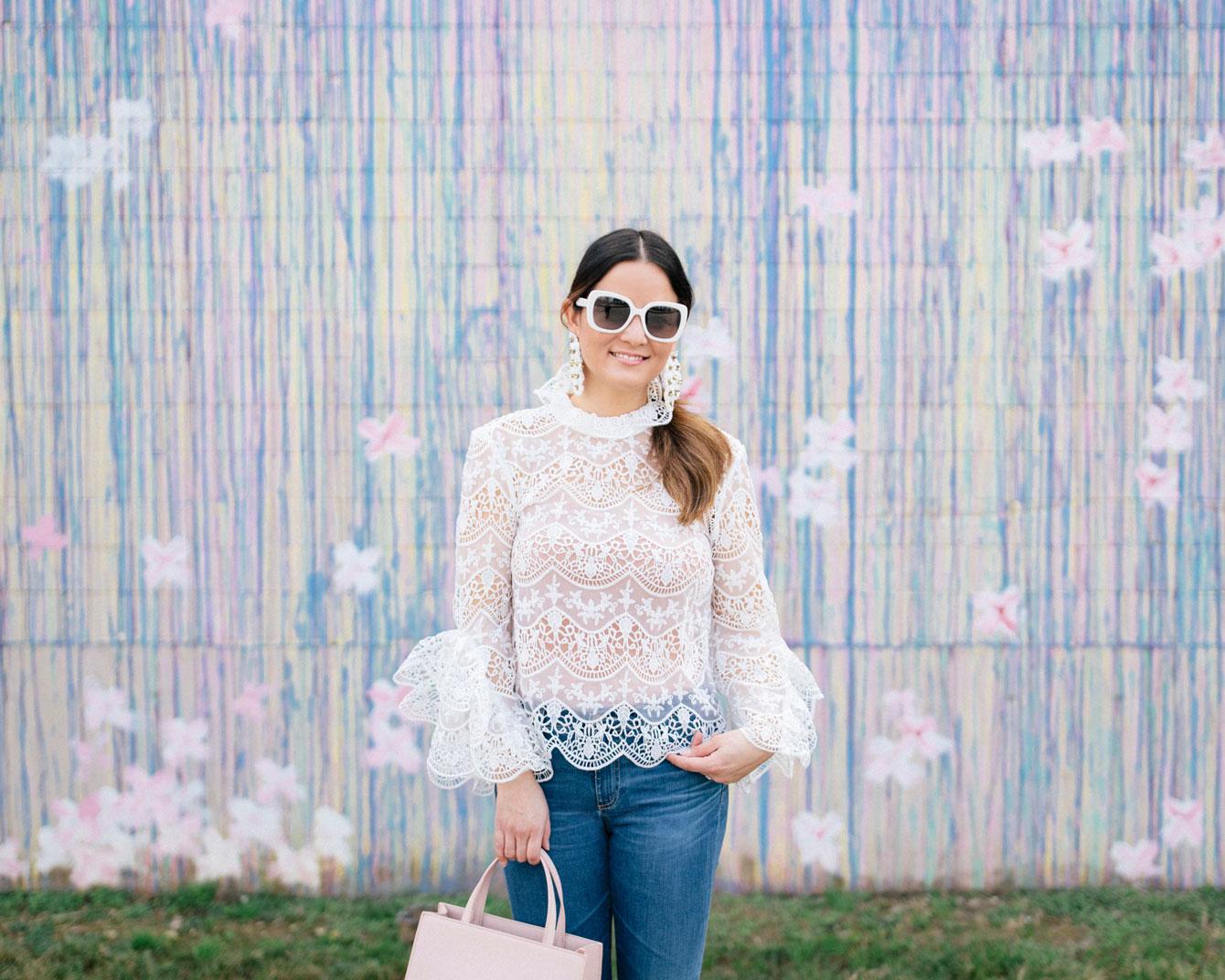 White Crochet Lace Ruffle Top