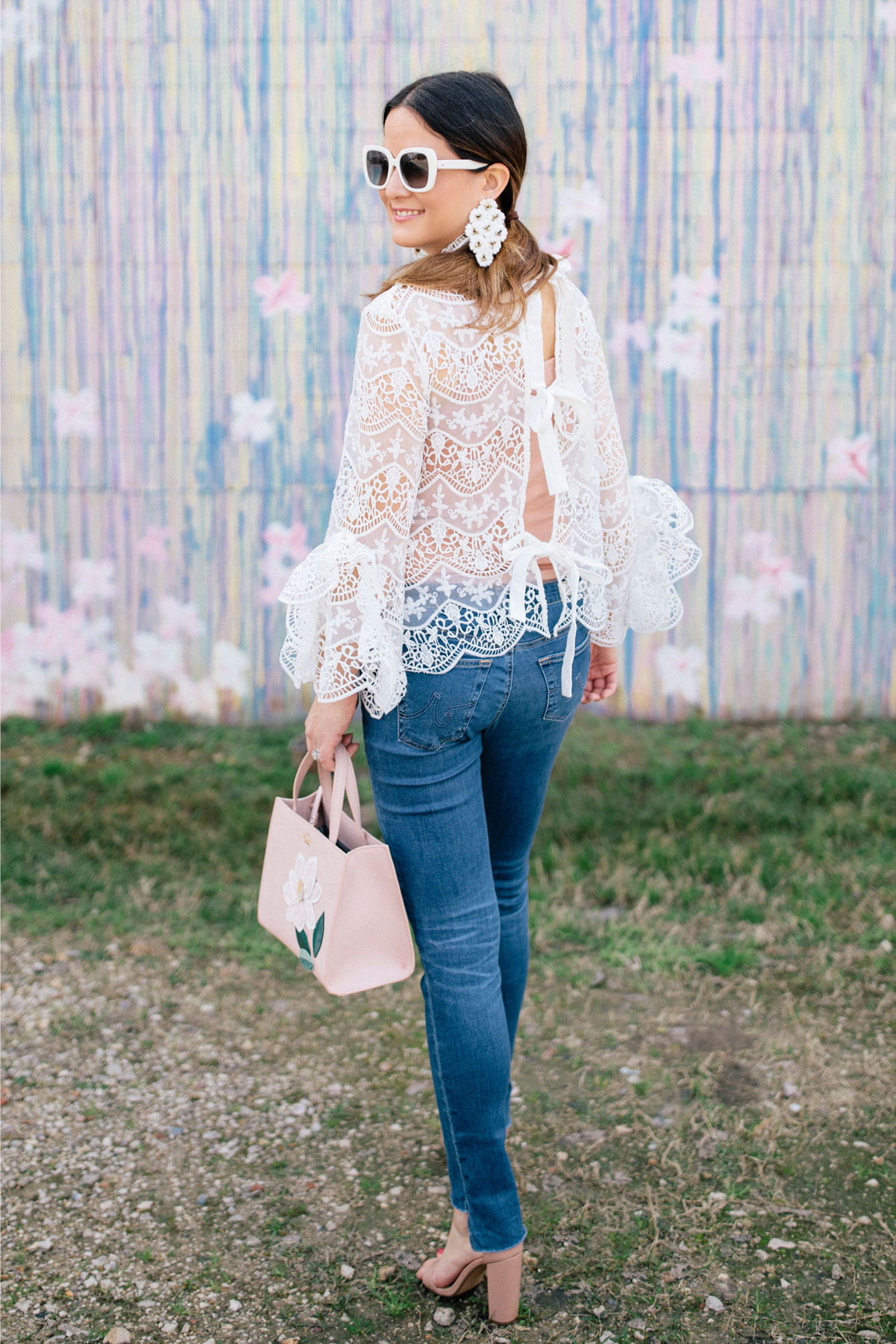 White Lace Tie Back Blouse