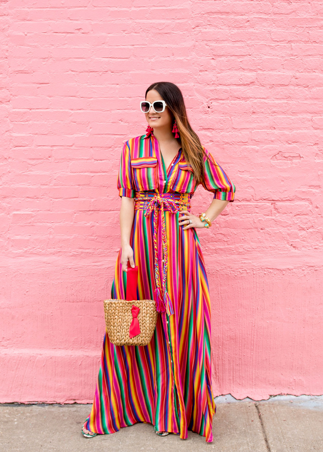 All Things Mochi Stripe Maxi Dress And Pamela Munson Bag