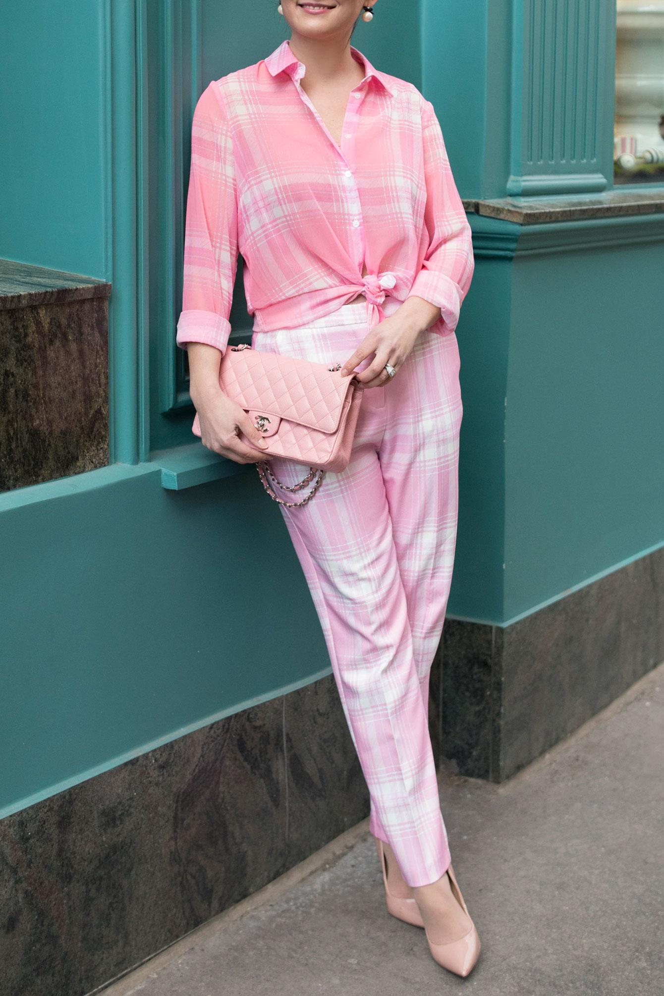 ASOS Pink Plaid Check Pants