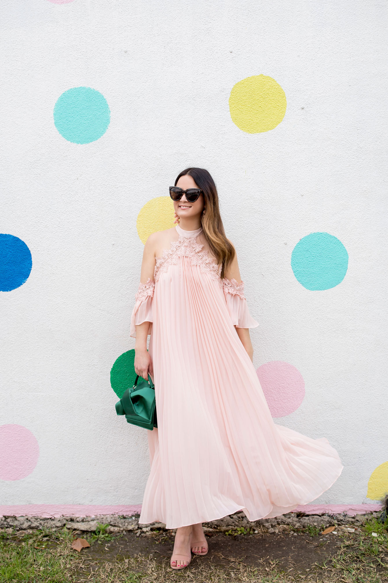 ASOS Pink Pleated Maxi Dress