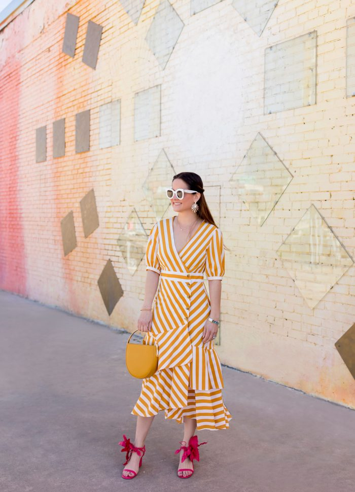 Topshop Yellow Stripe Dress // Dallas Sunburst Mural