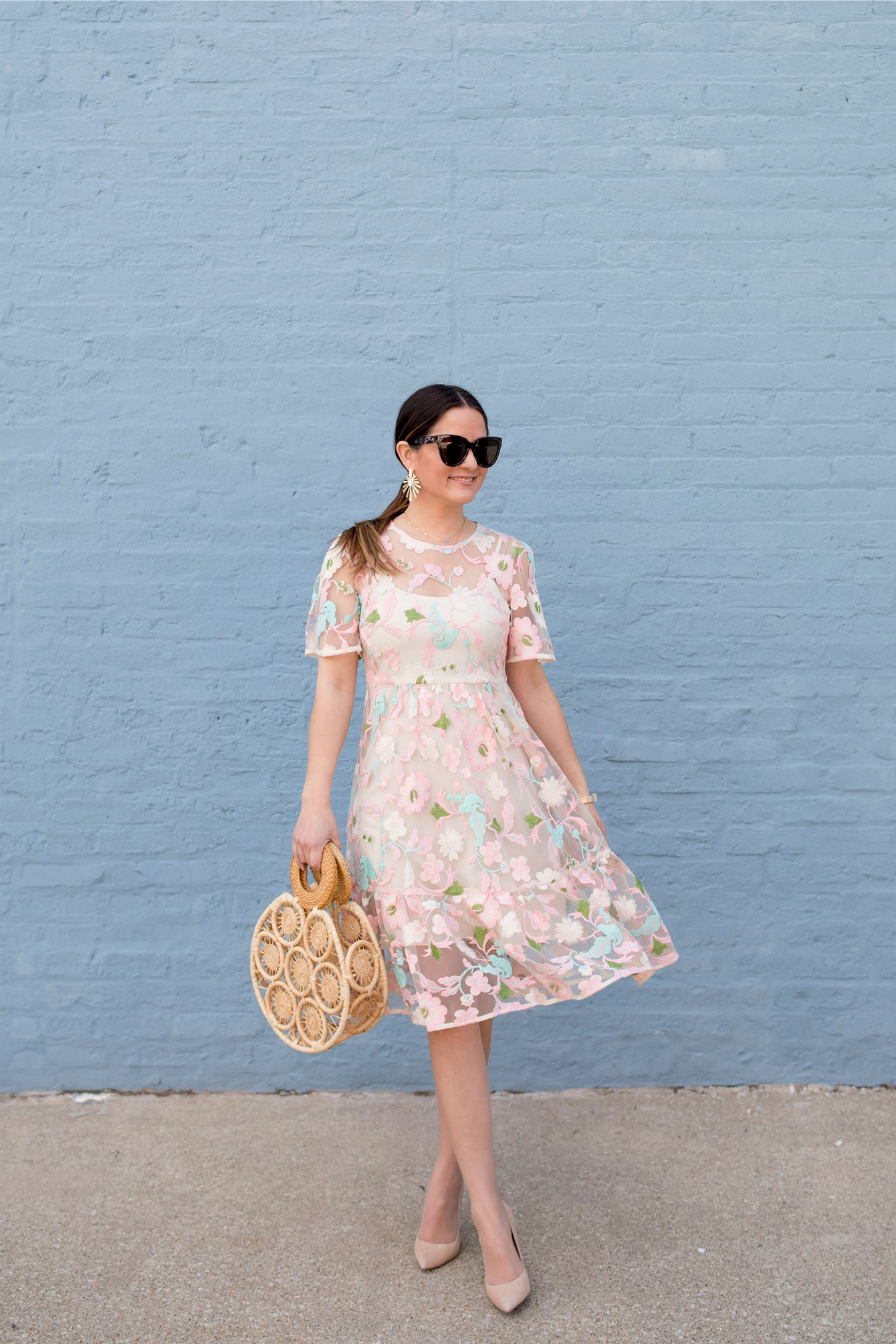 Donna Morgan Pastel Lace Dress