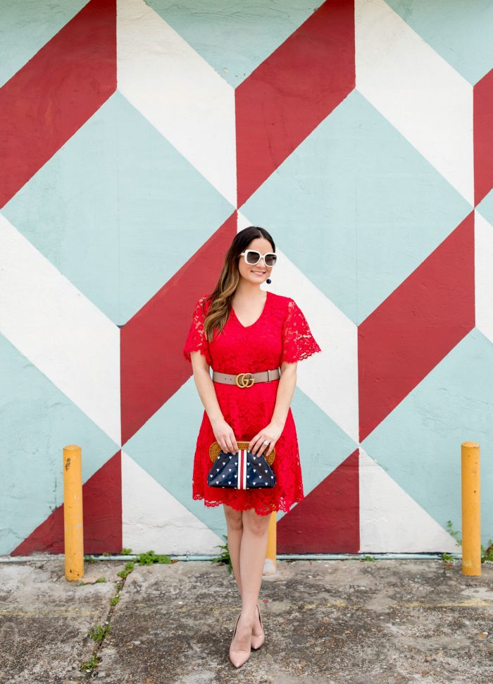 Draper James Red Lace Dress in Houston
