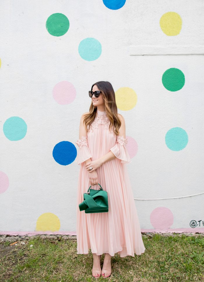 Pink Pleated Cold Shoulder Maxi Dress // Friday Charades