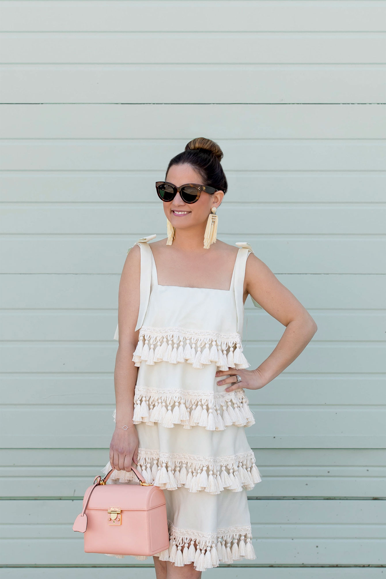 Ivory Tiered Tassel Dress