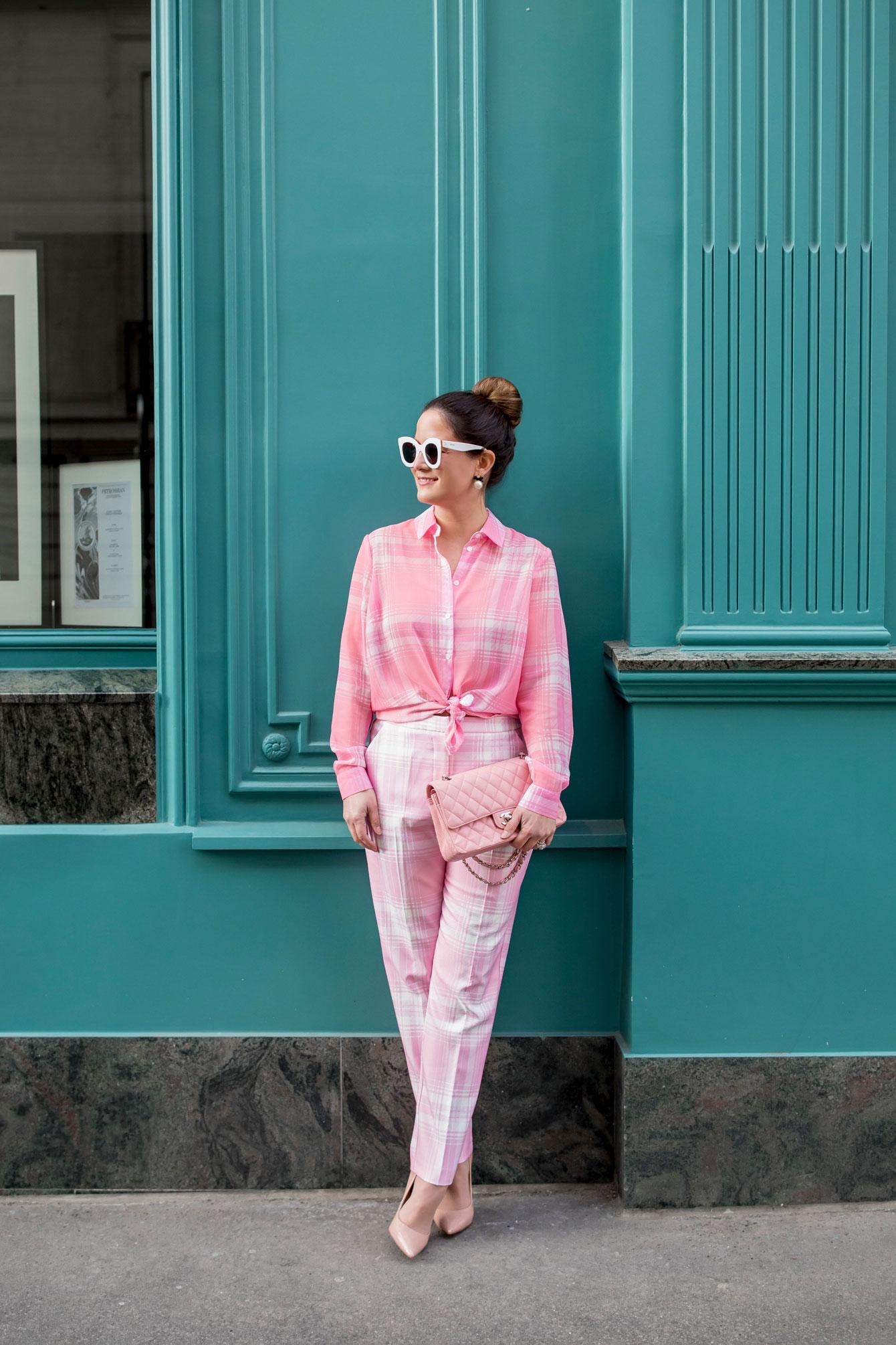 Jennifer Lake ASOS Pink Plaid Pants