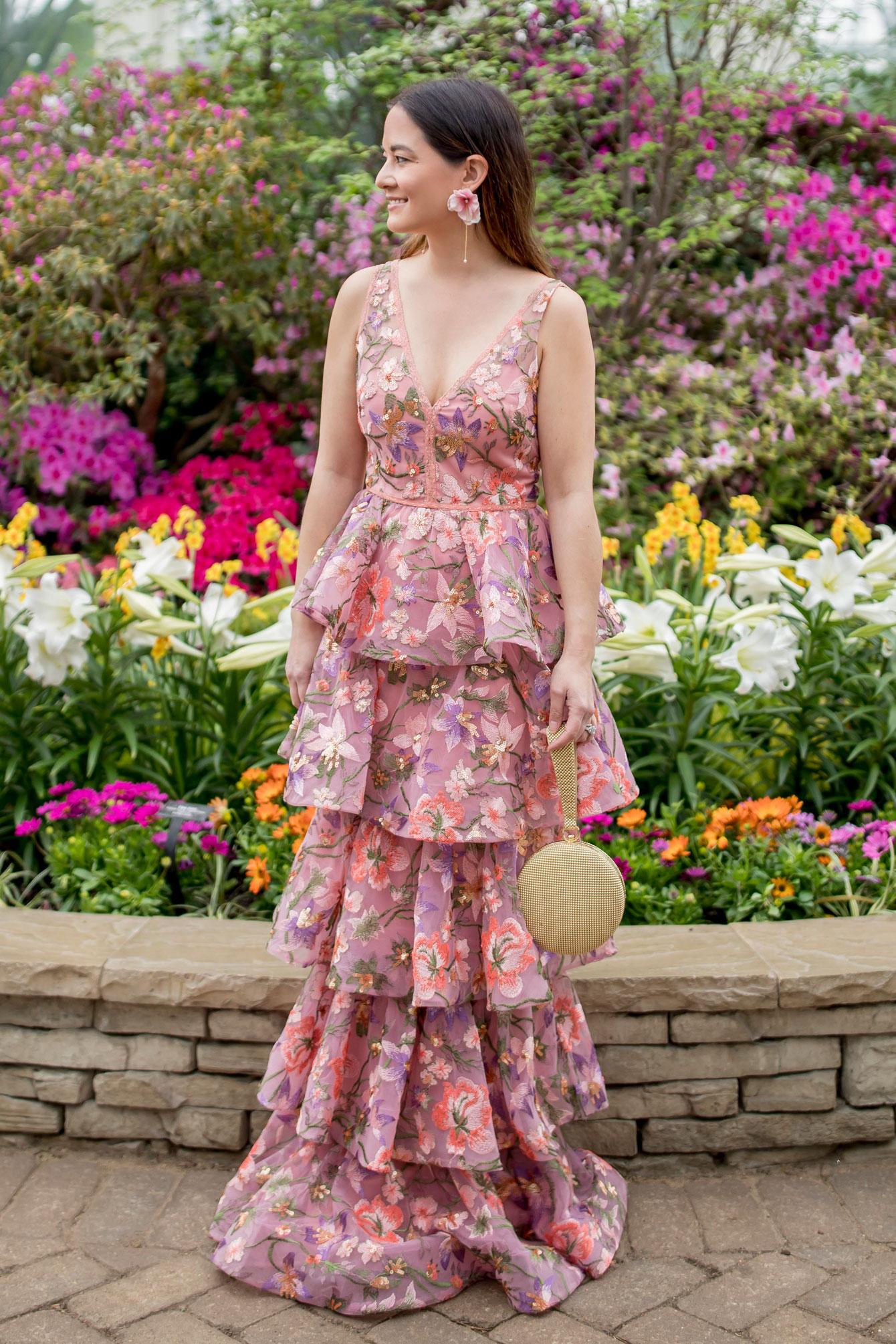 Jennifer Lake BHLDN Blush Embellished Tiered Gown