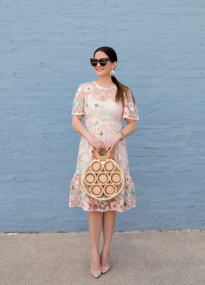 Pastel Lace Dress and Cult Gaia Straw Bag