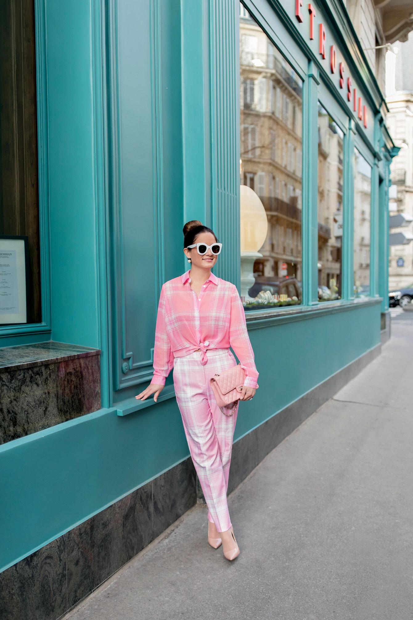Jennifer Lake Pink Check Outfit