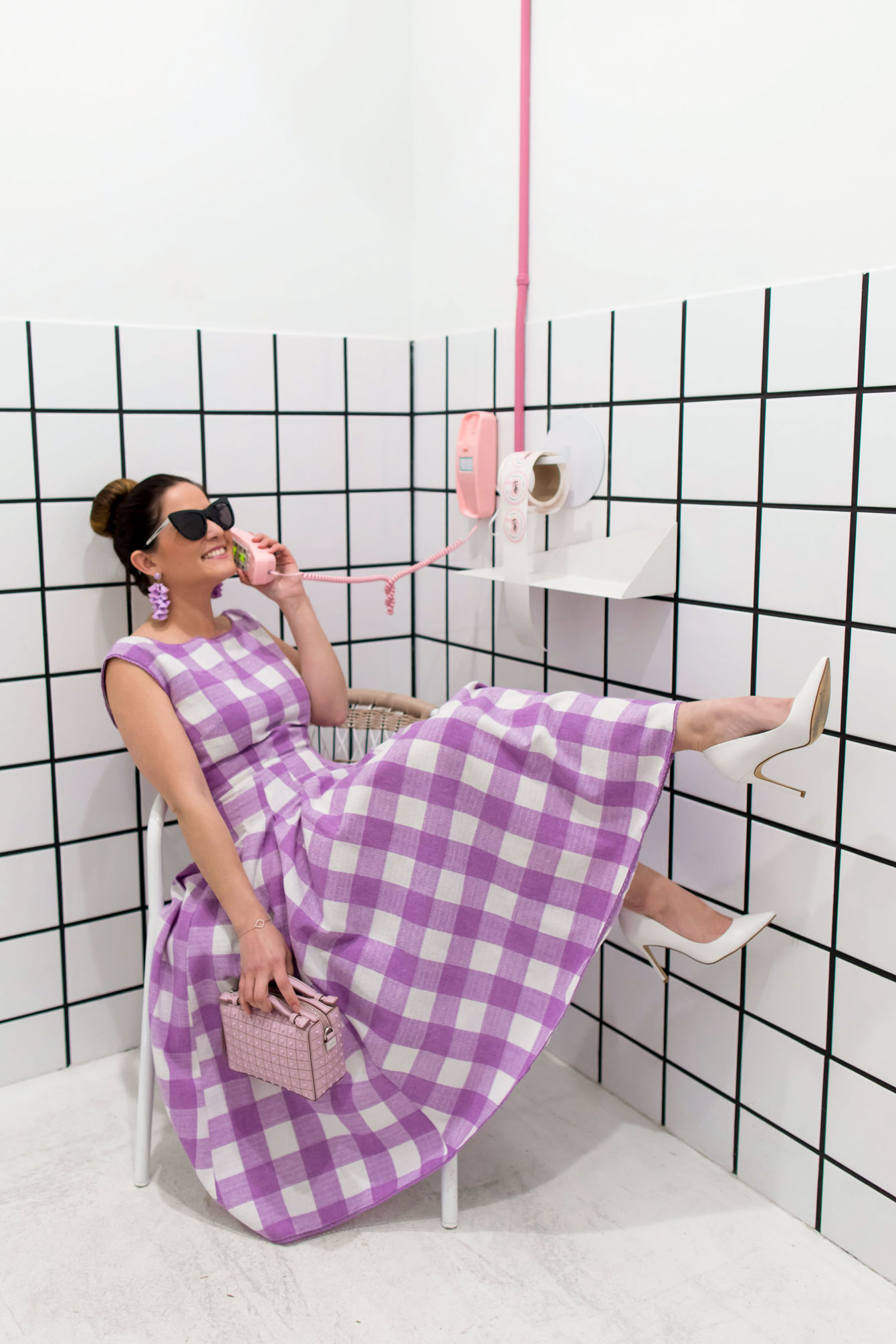 ModCloth Purple Gingham Midi Dress