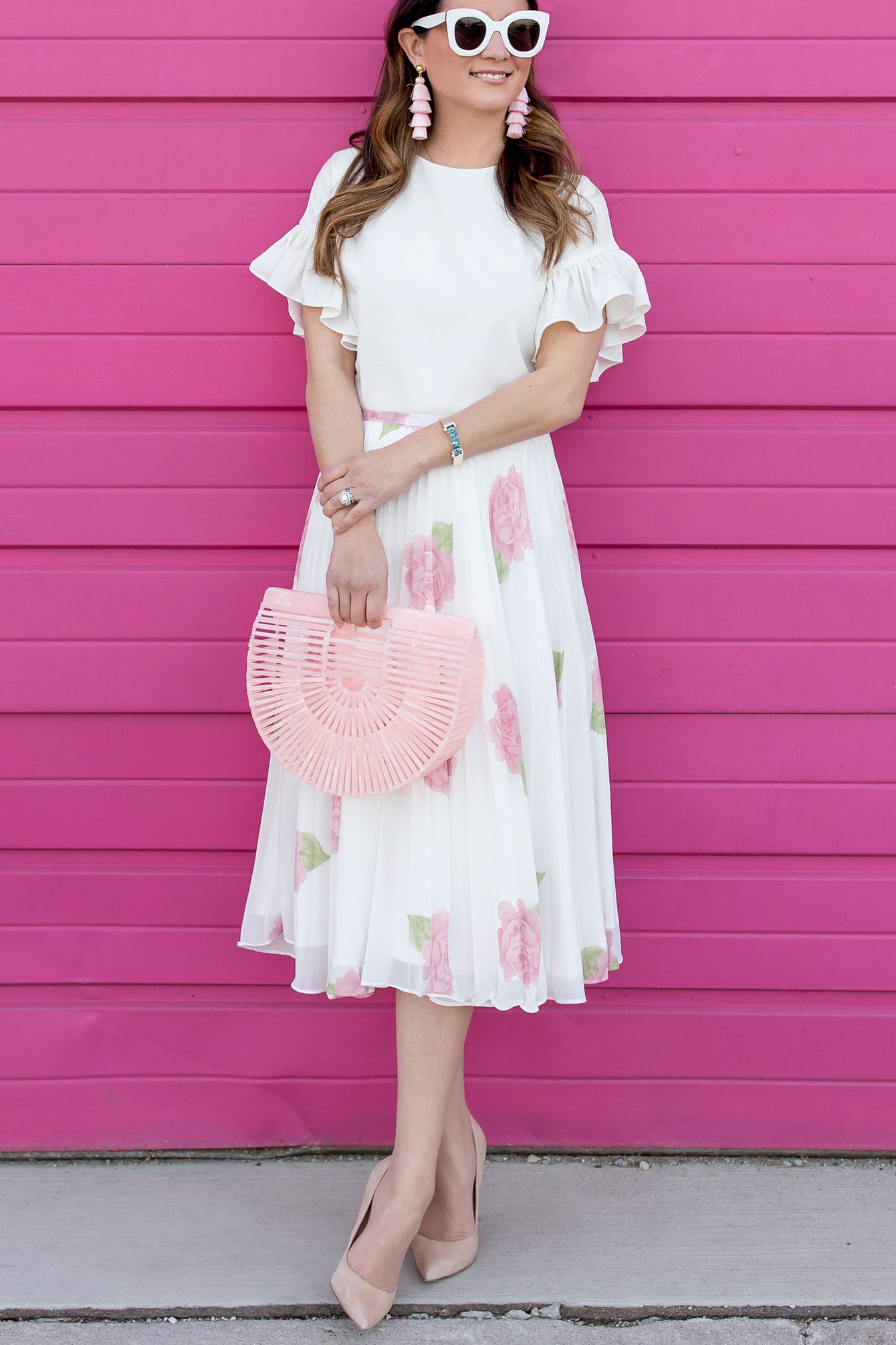 Pink Floral Pleated Skirt