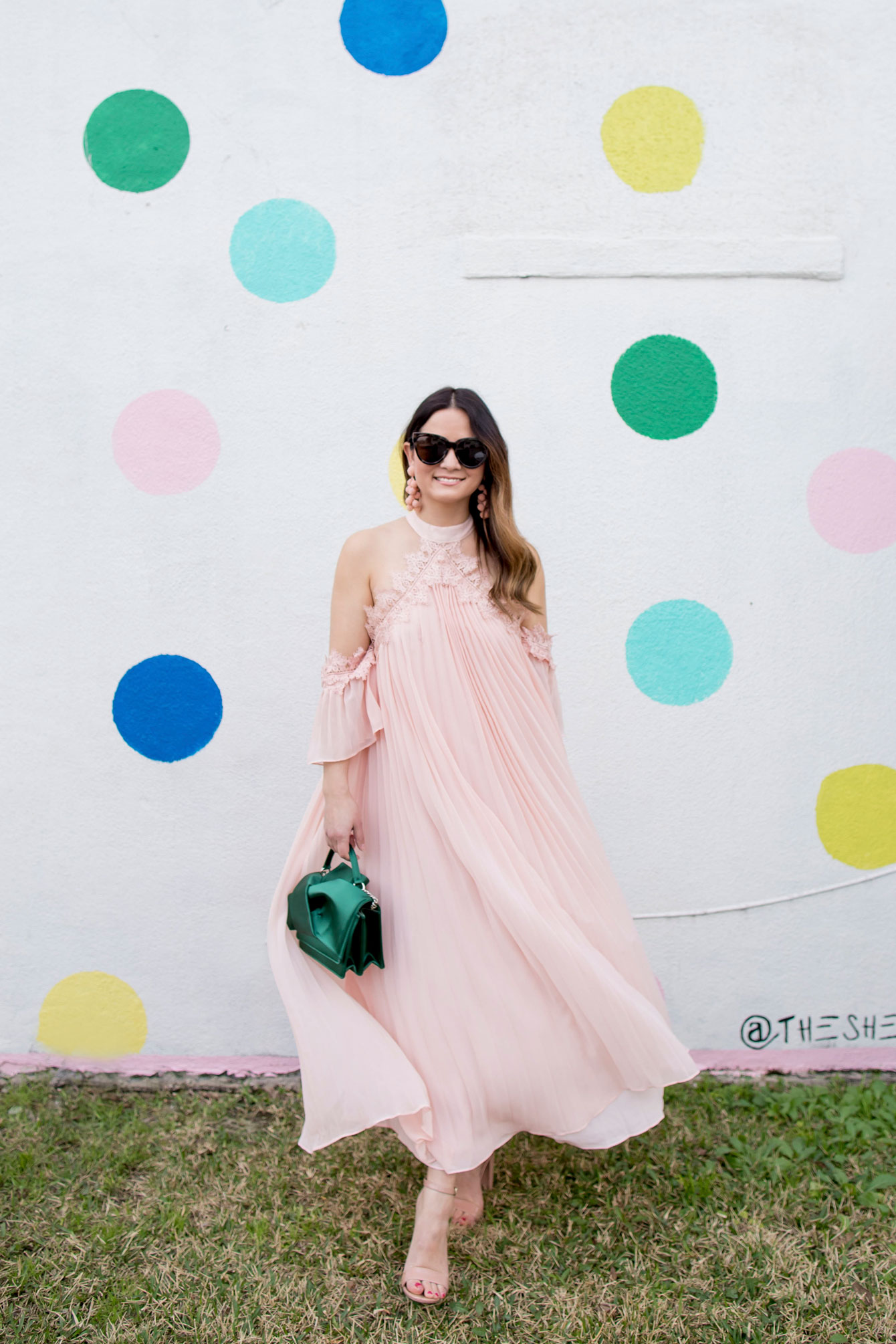 Pink Pleated Cold Shoulder Maxi Dress