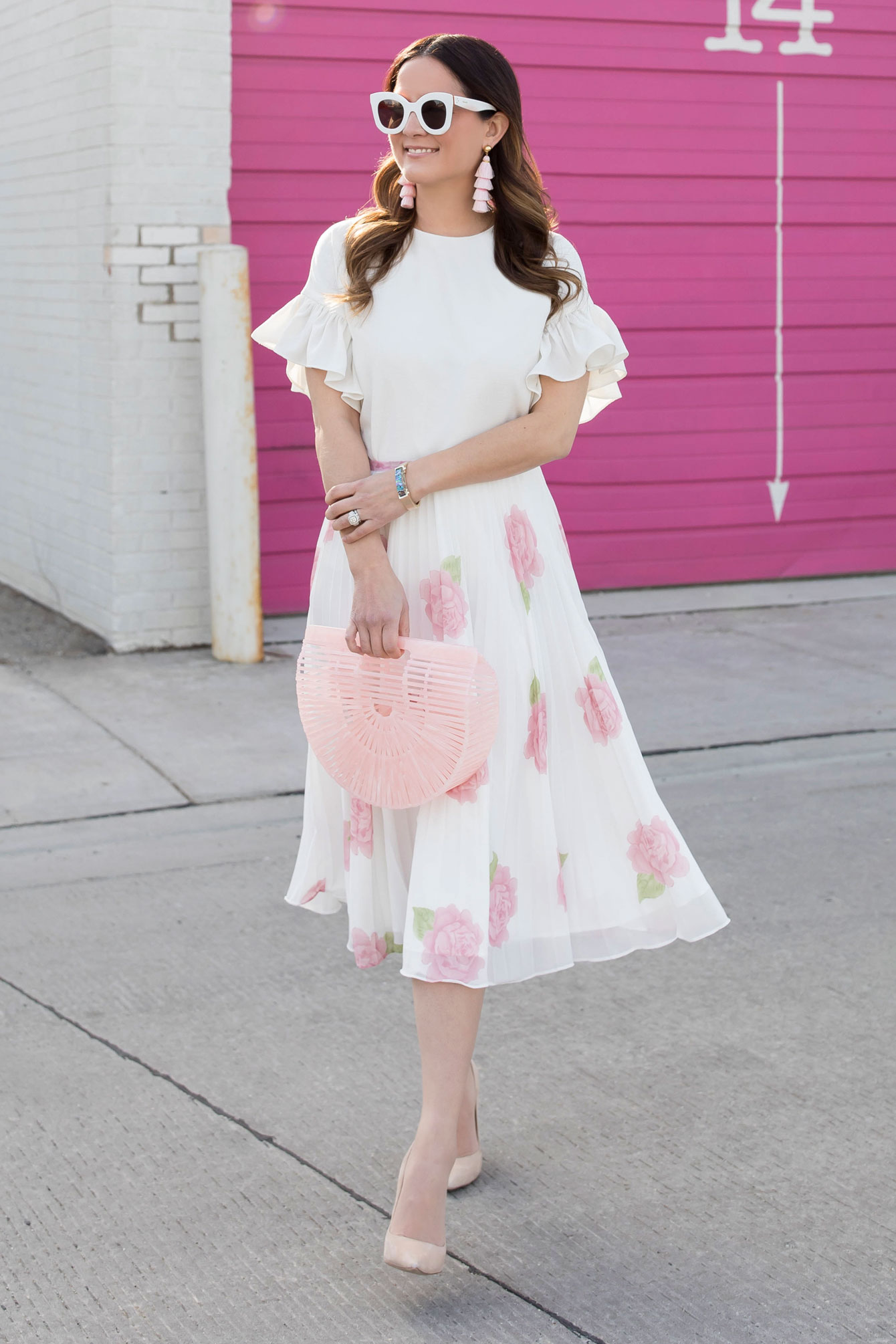 Rachel Parcell Peony Blossom Pleated Skirt