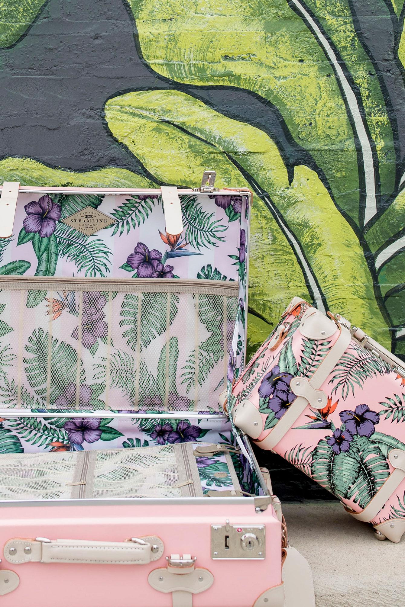SteamLine Tropical Print Pink Luggage