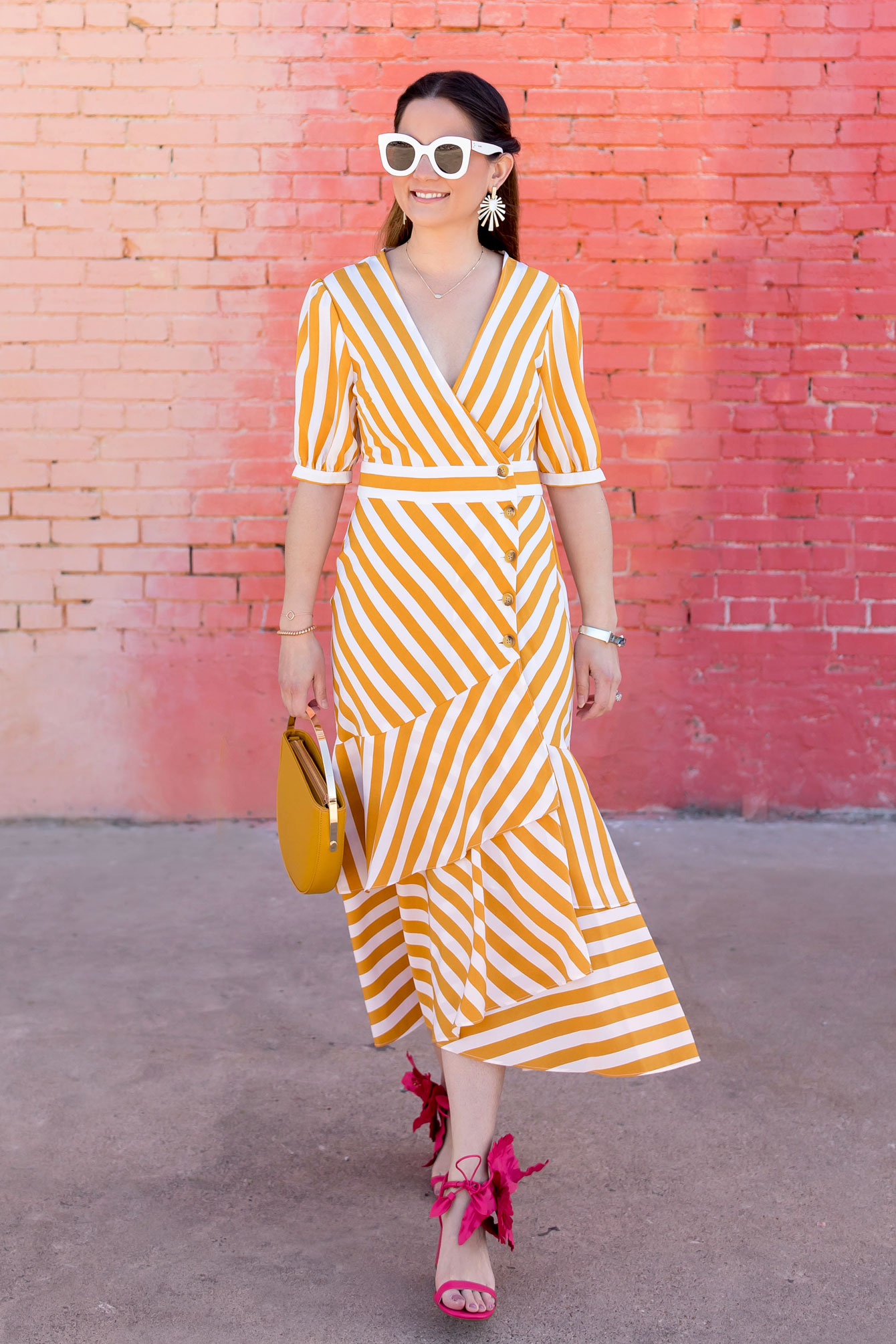 Topshop Yellow Stripe Midi Dress