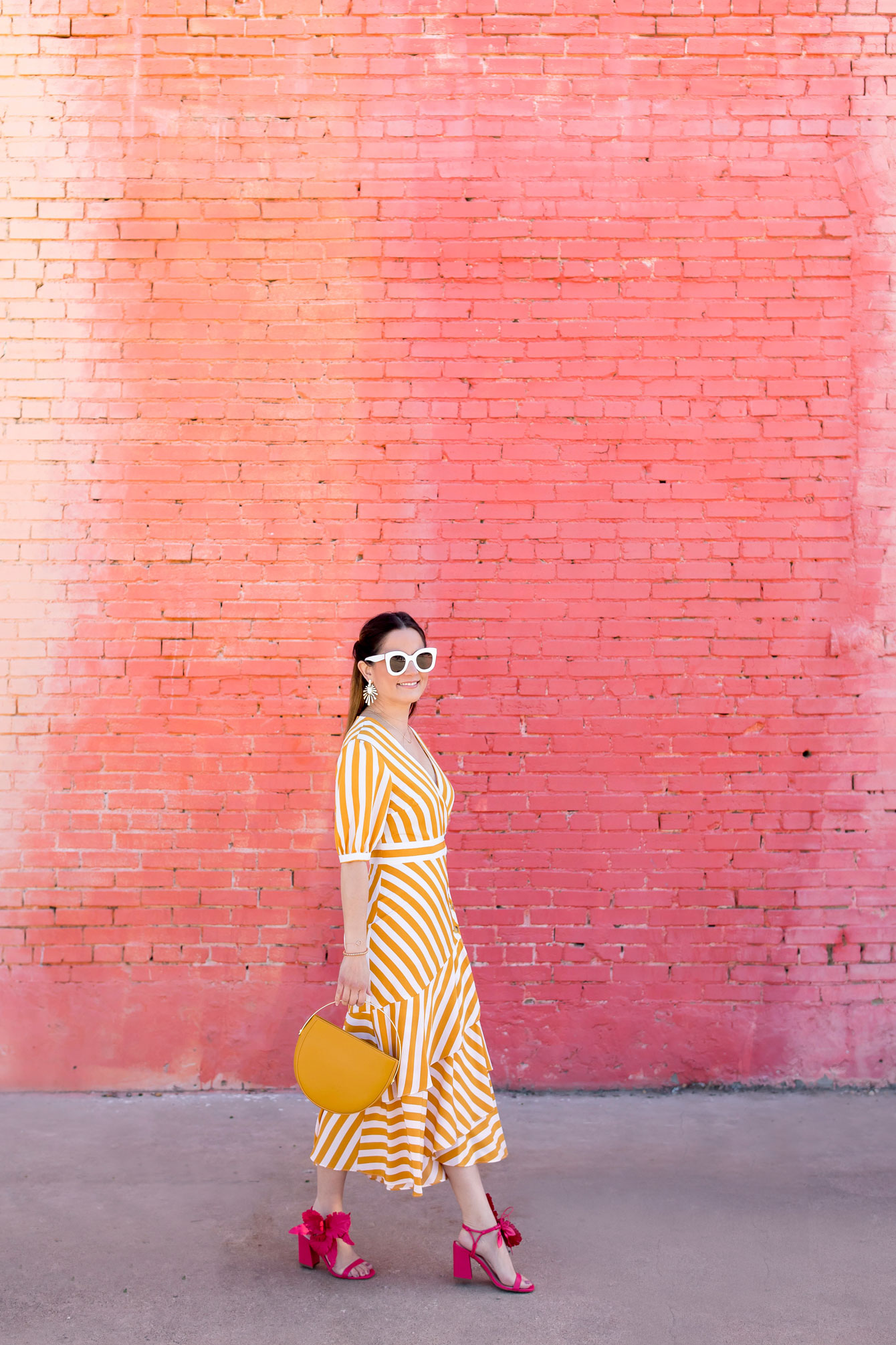 Topshop Yellow Stripe Ruffle Midi Dress