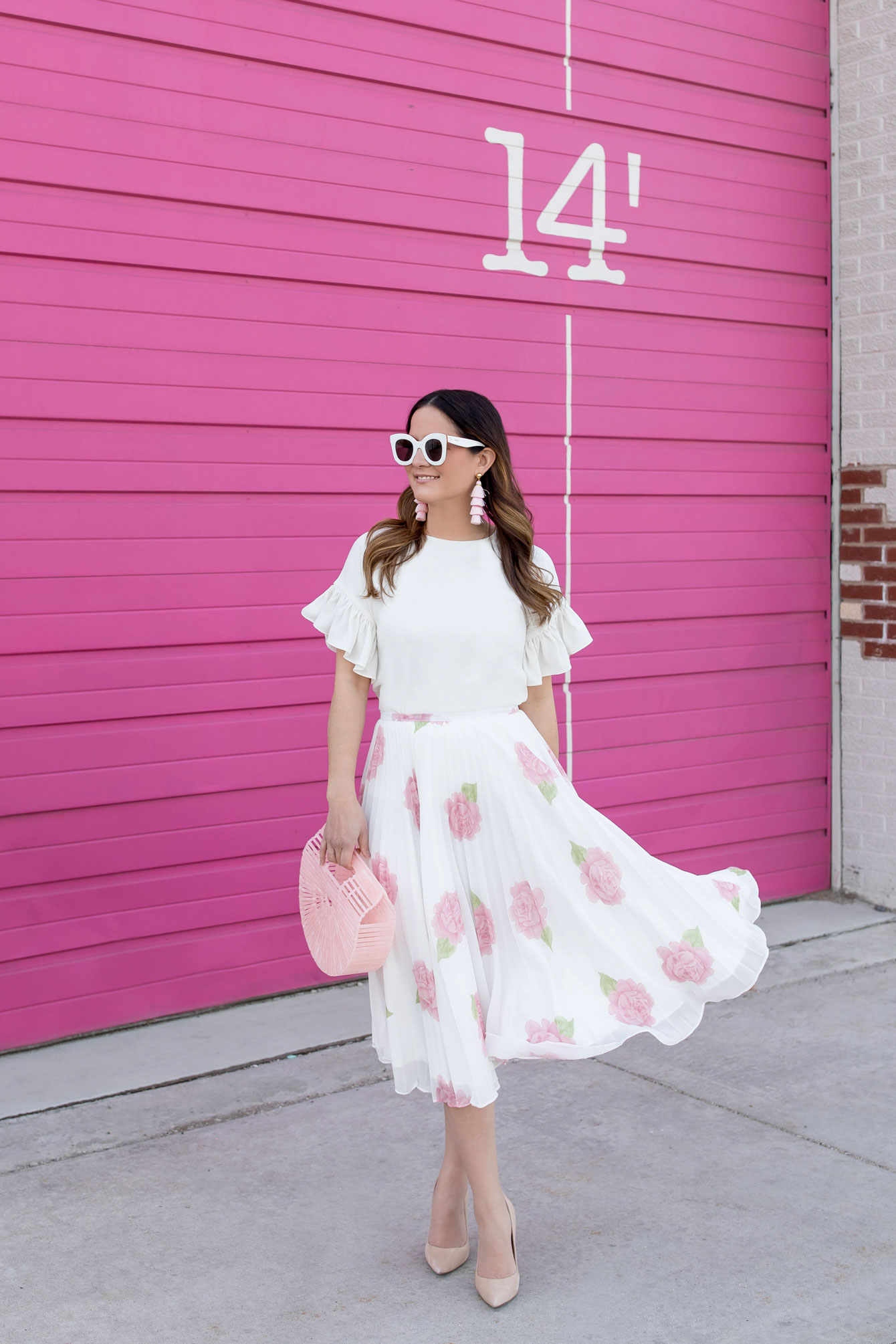 White Pink Floral Pleated Midi Skirt