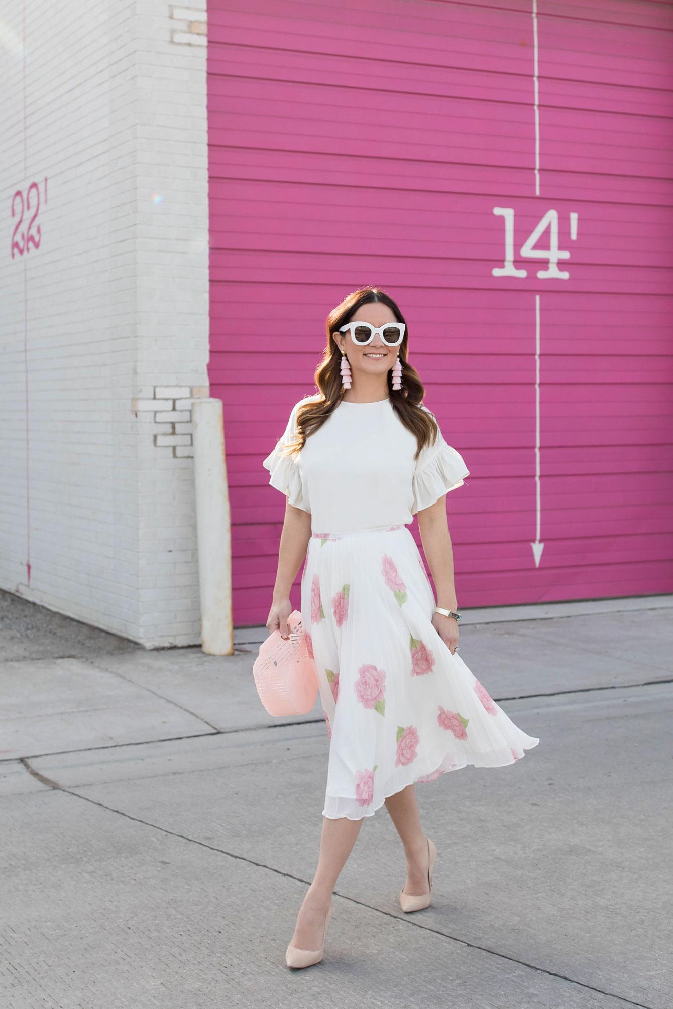 White Pink Pleated Midi Skirt