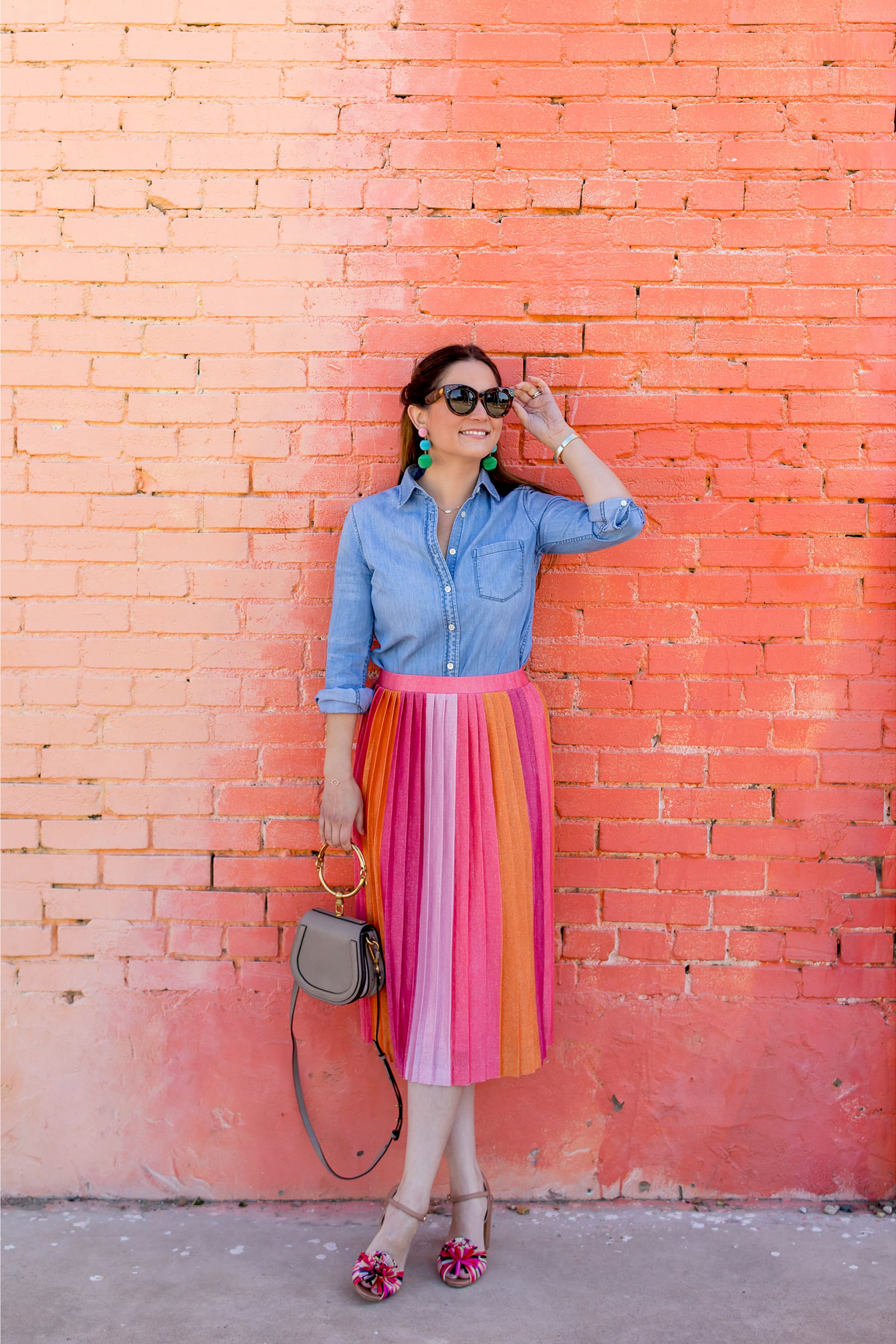 Anthropologie Pink Ombre Pleated Midi Skirt
