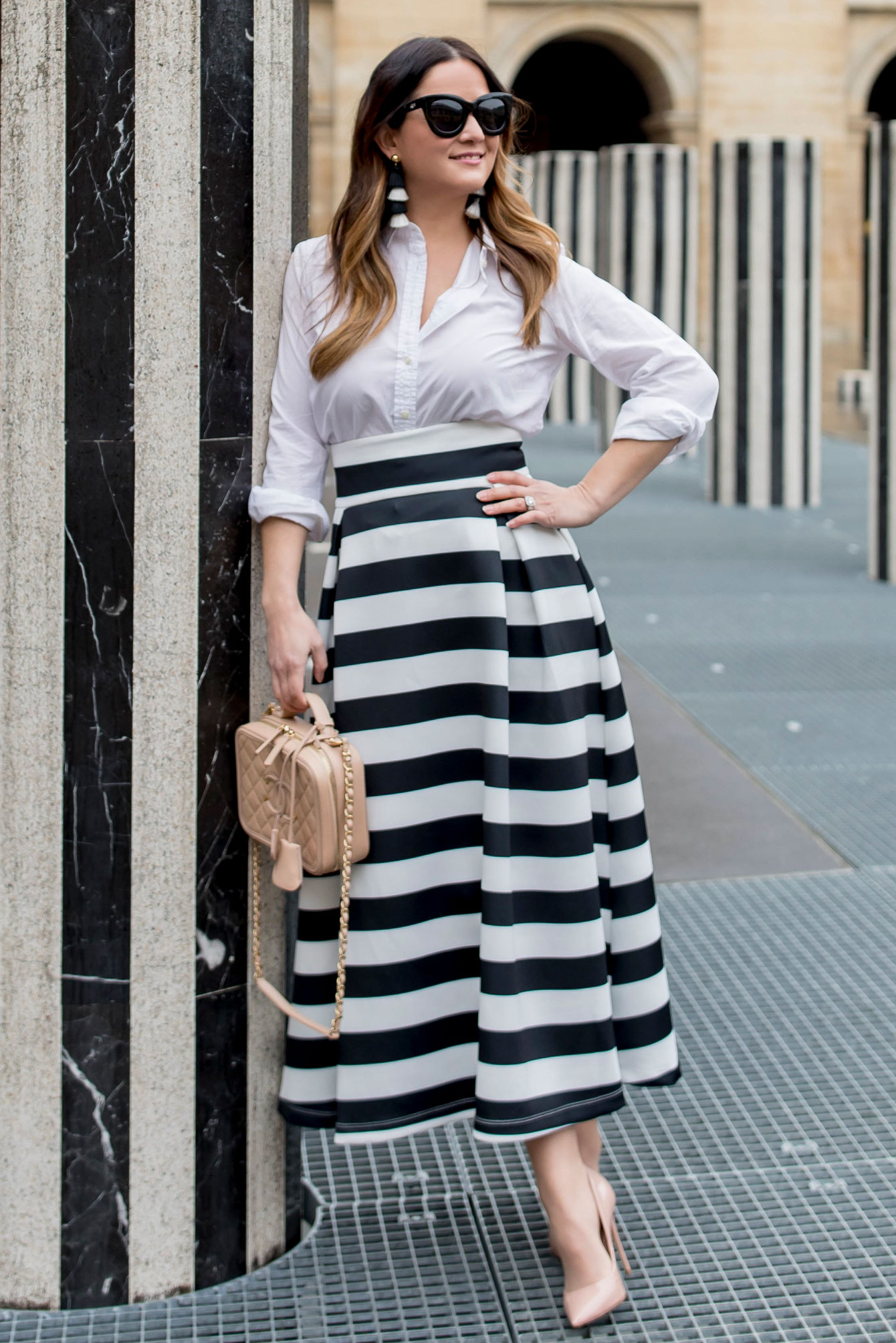 ASOS Black White Stripe Midi Skirt