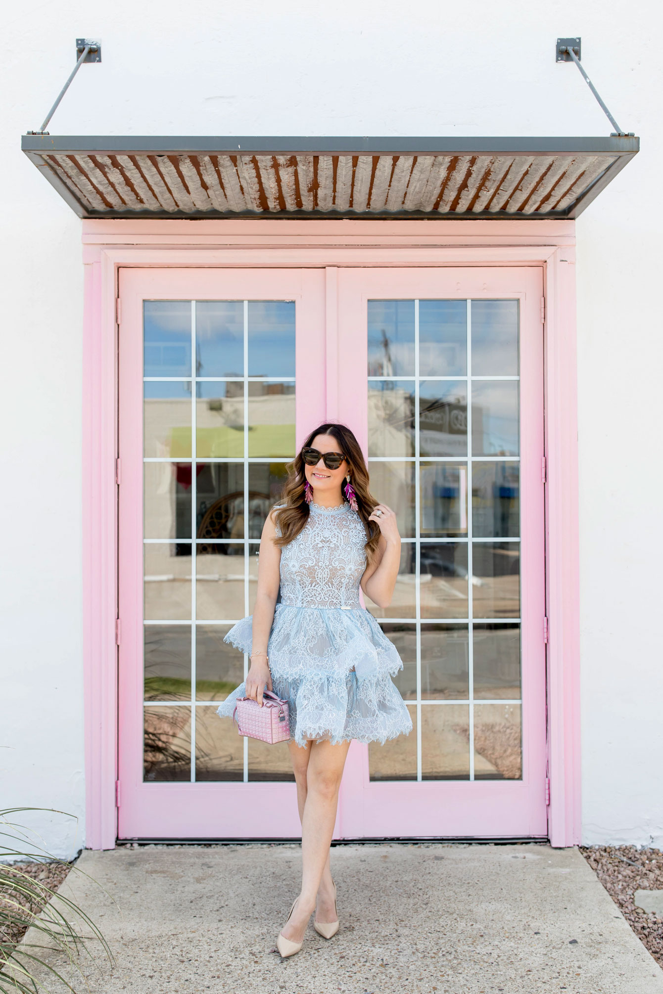 Bronx and Banco Blue Tiered Lace Dress