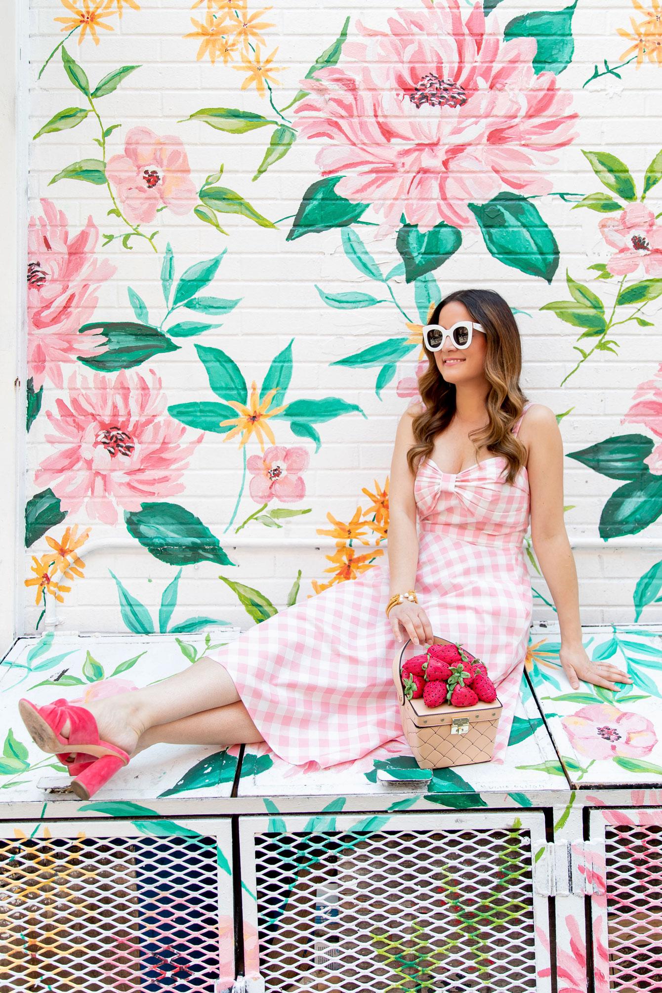 Eliza J Pink Gingham Midi Dress