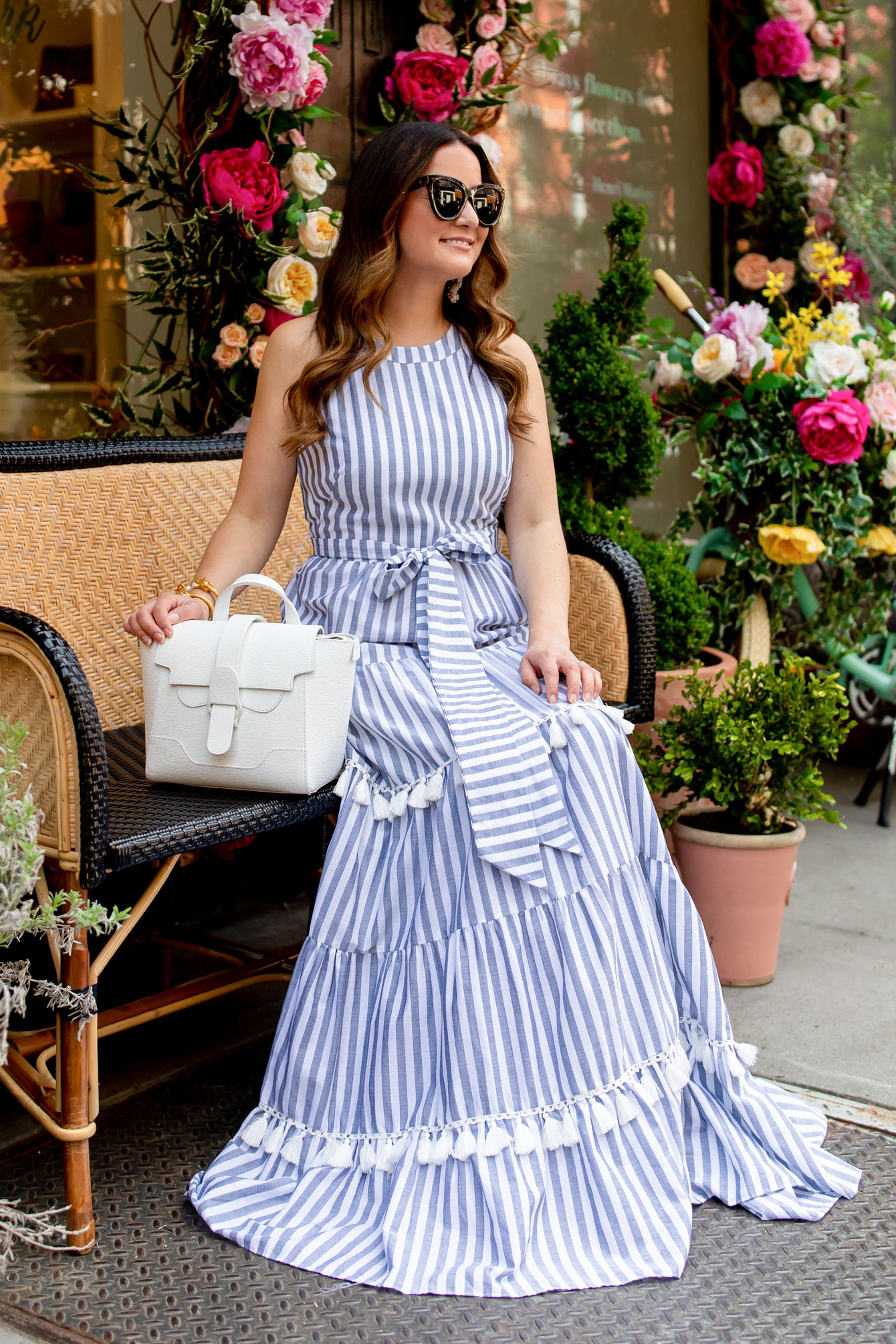 Eliza J Stripe Tiered Maxi Dress