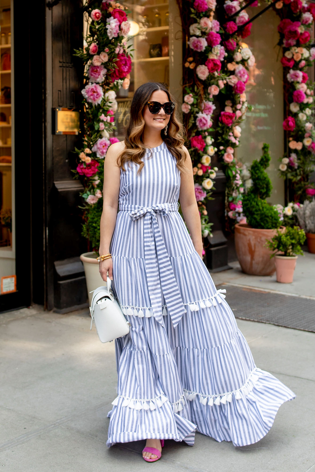 Eliza J Tiered Tassel Fringe Dress Stripe Maxi Nordstrom