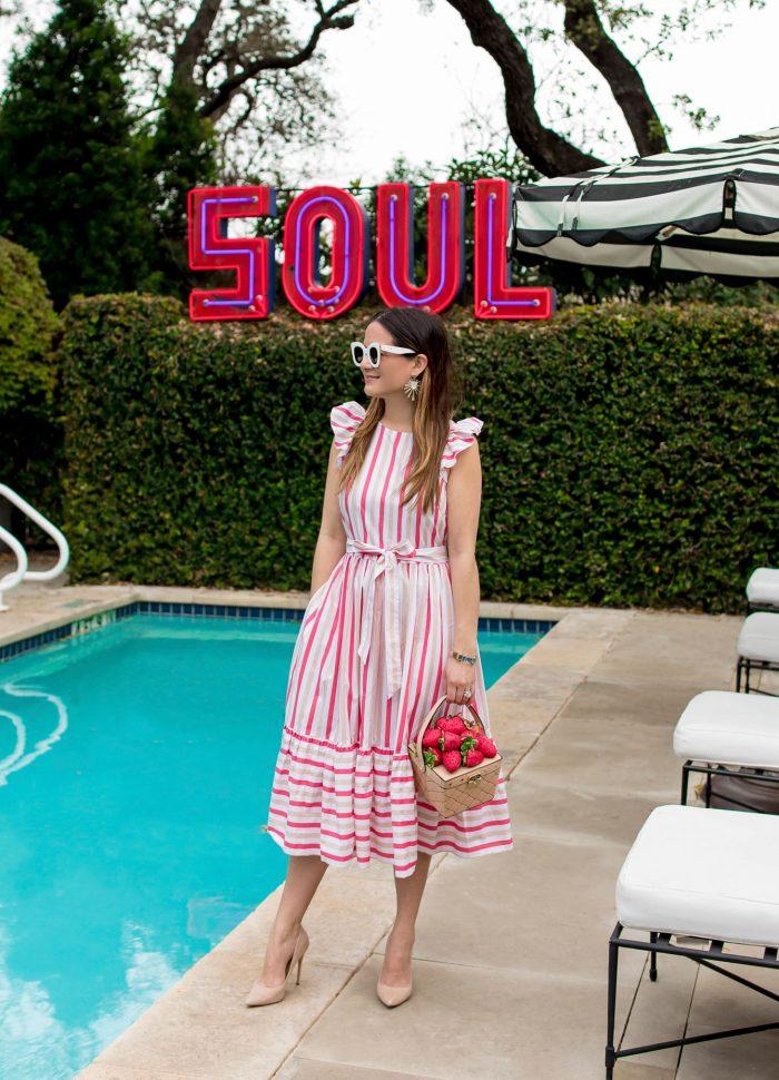 Kate Spade Pink Stripe Midi Dress in Austin
