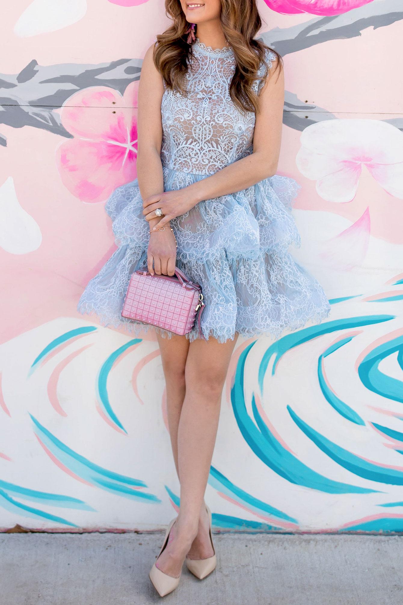 Jennifer Lake Blue Lace Dress