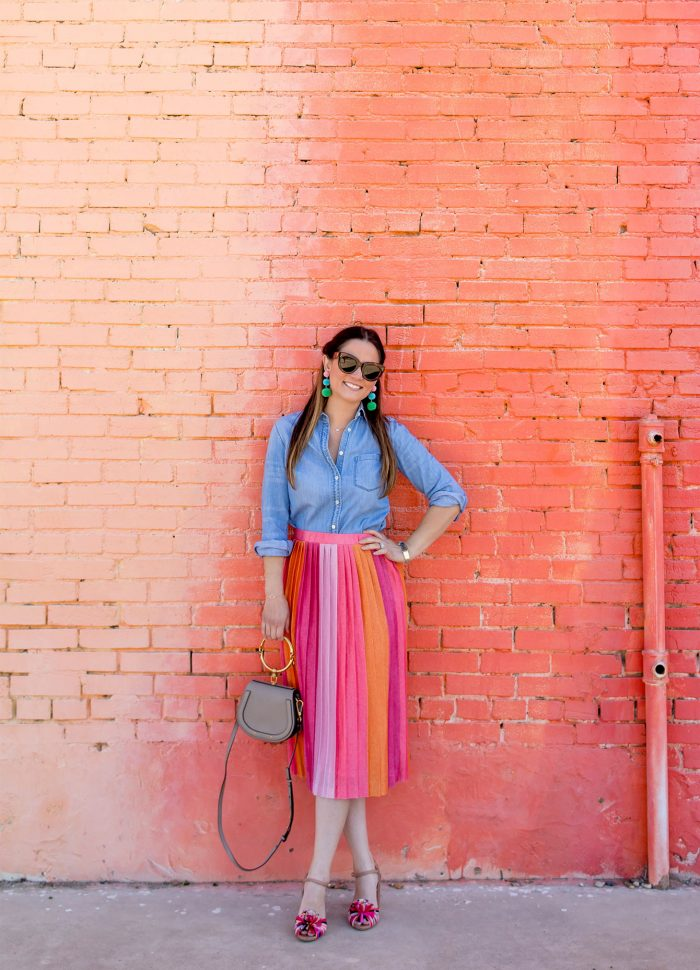 Pink Ombre Pleated Midi Skirt in Dallas